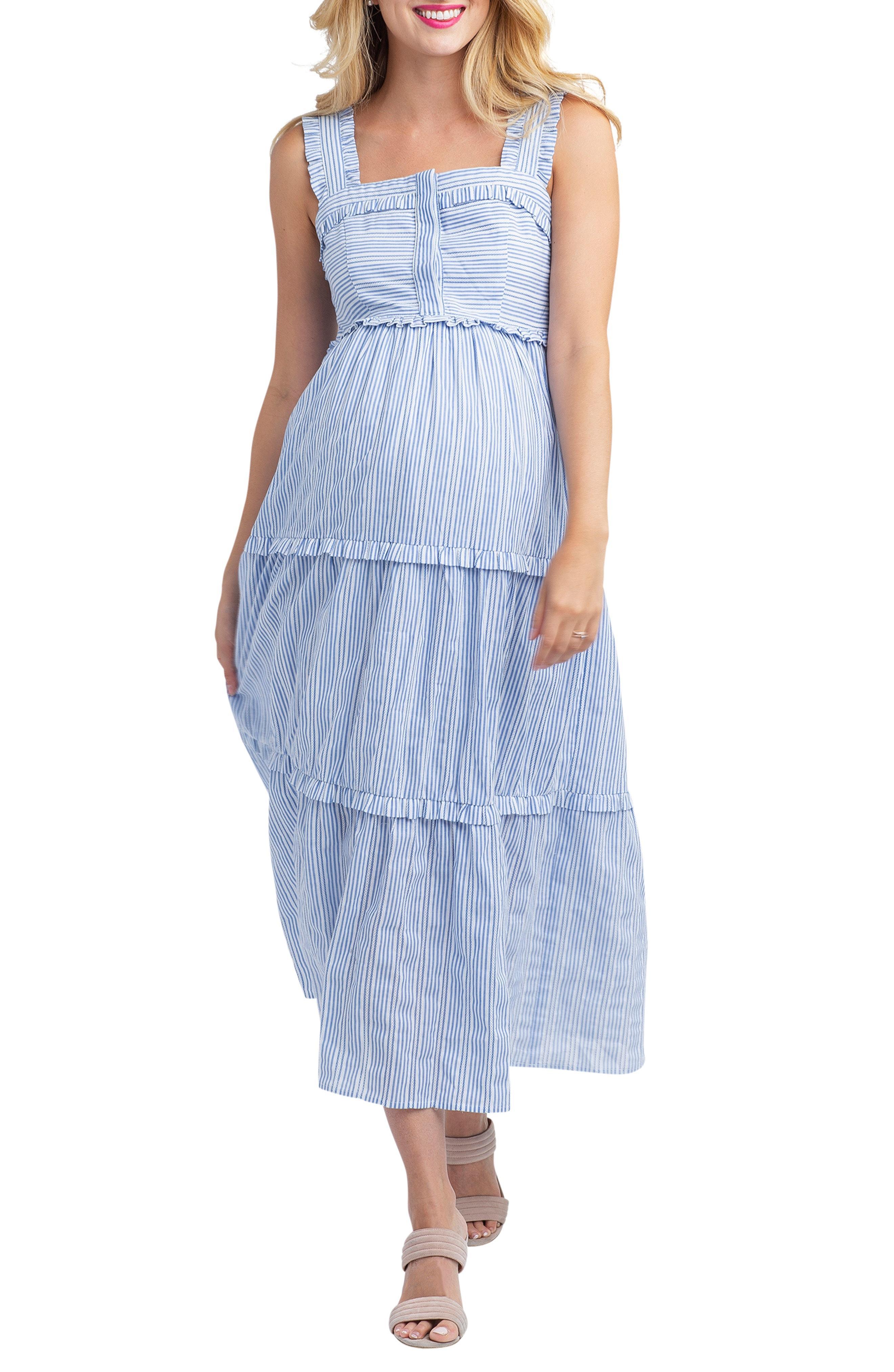 b1ae6bb5178 Lyst - Nom Maternity Emma Maternity nursing Midi Dress in Blue