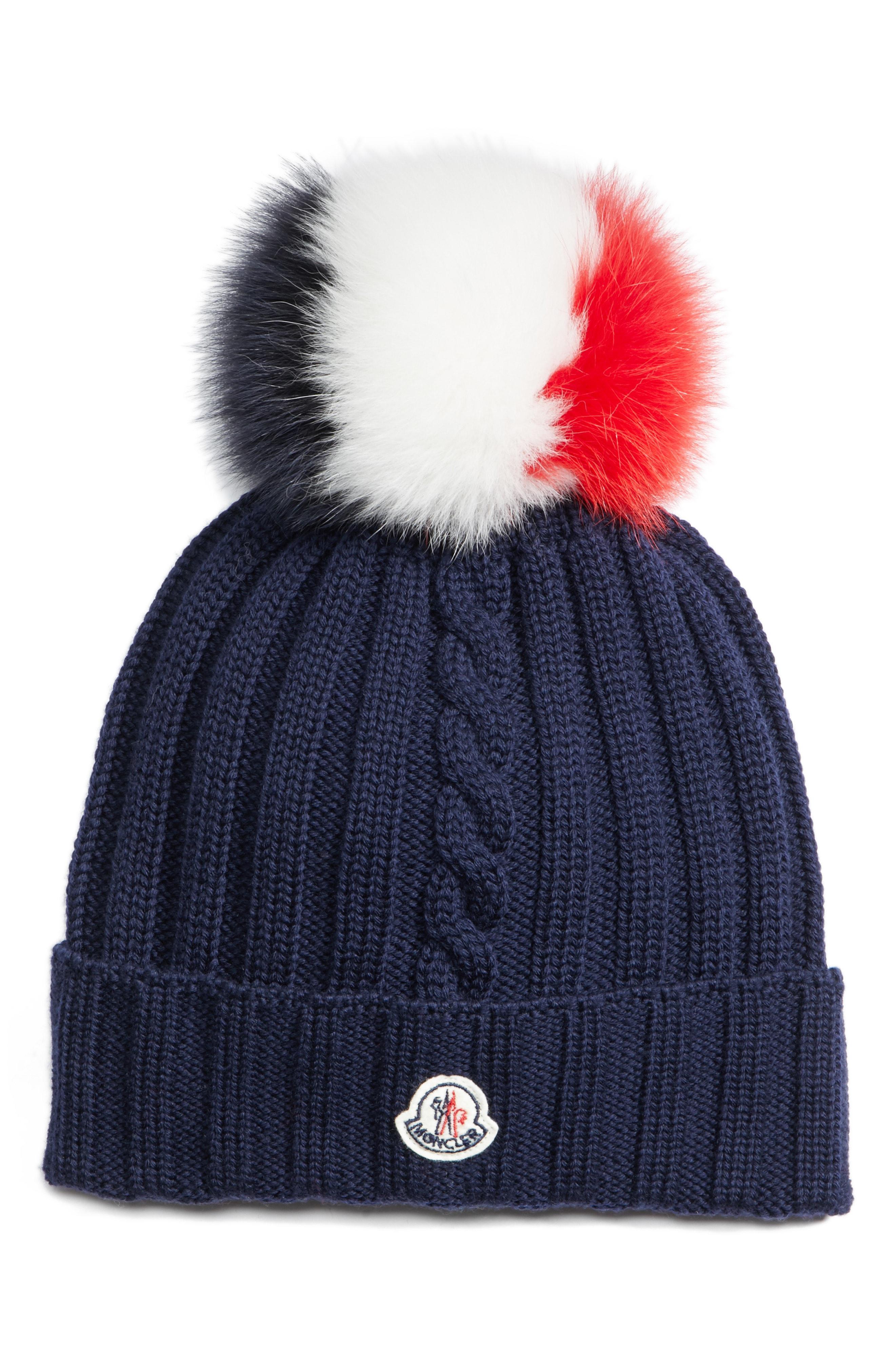 aef0fca8f95 Lyst - Moncler Genuine Fox Fur Pom Wool Hat in Blue