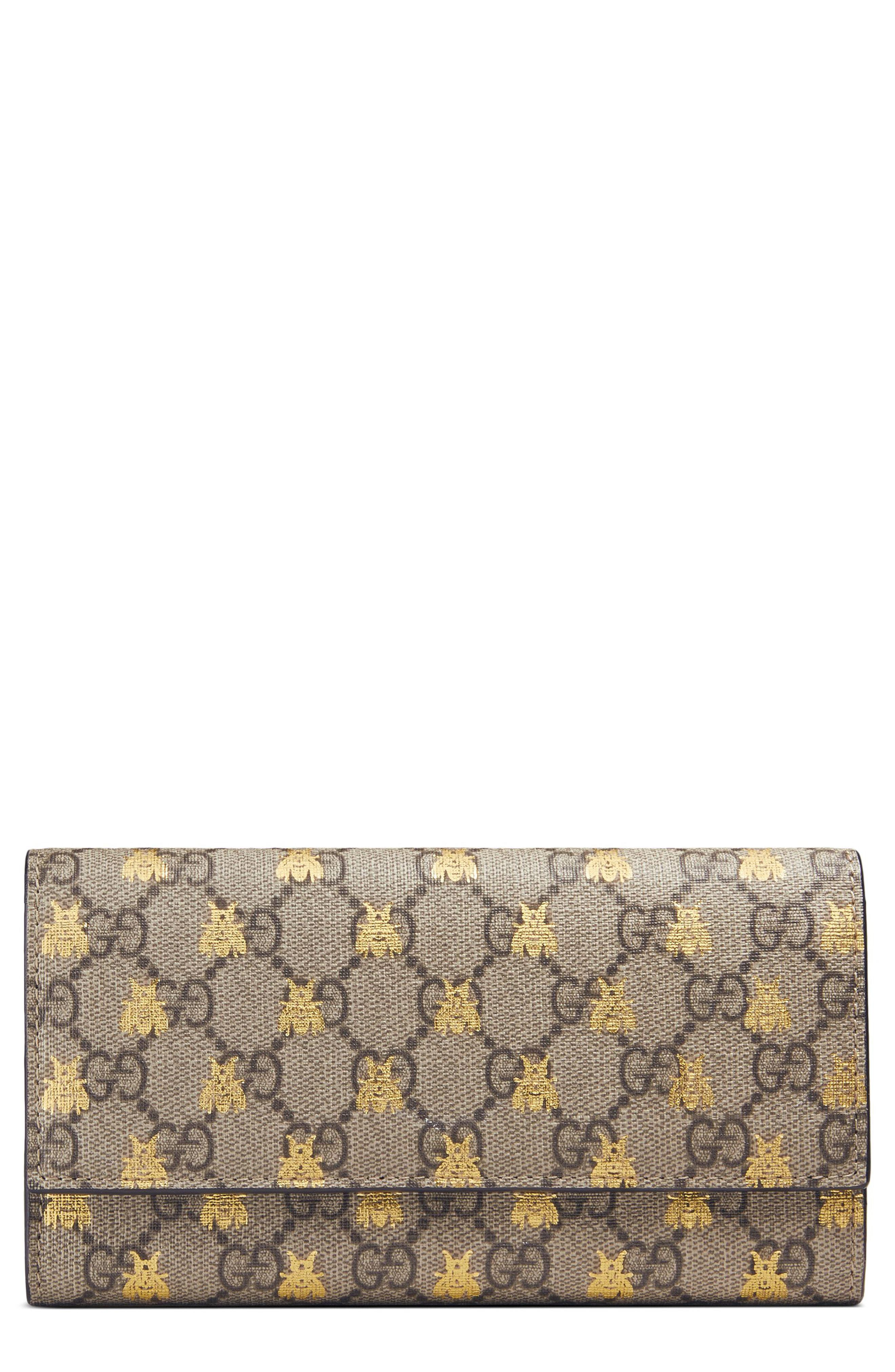 8805ff6baa4a Gucci. Women's Linea Bee Gg Supreme Continental Wallet -