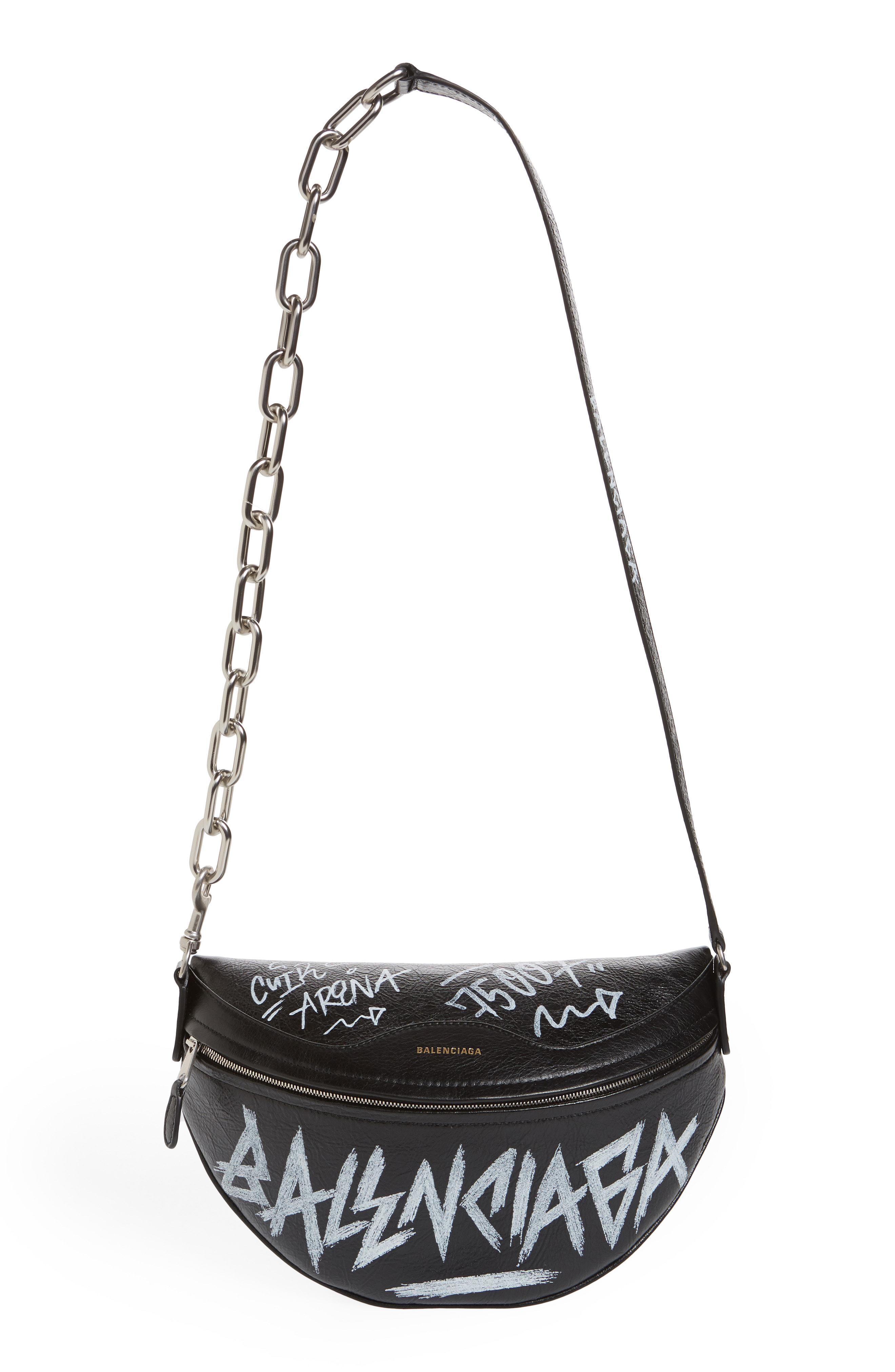 e4b1f814838e Lyst - Balenciaga Graffiti Souvenir Leather Belt Bag - in Black