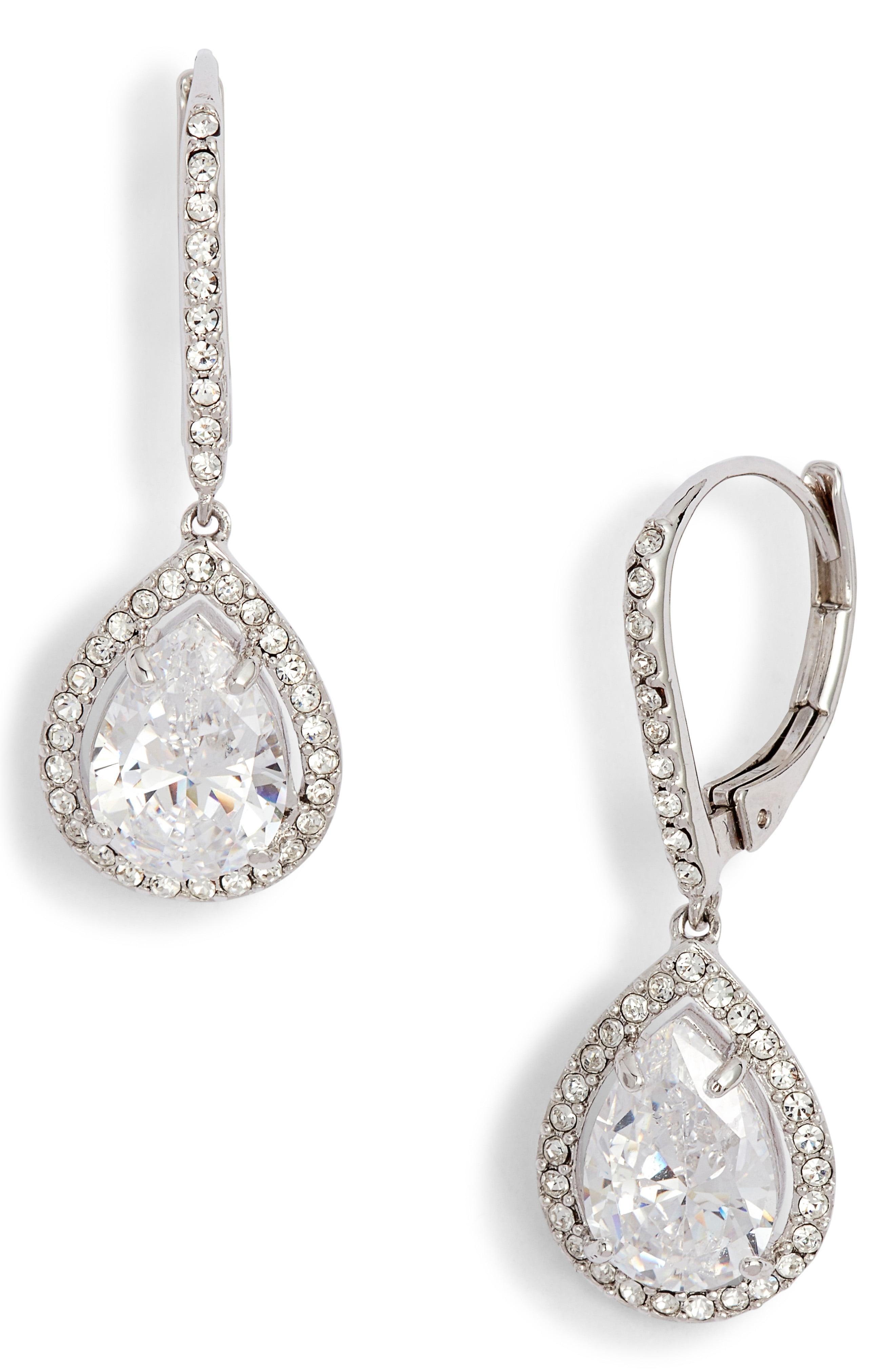 ab693eab5dd8b8 Lyst - Nordstrom Cubic Zirconia Drop Earrings in Metallic