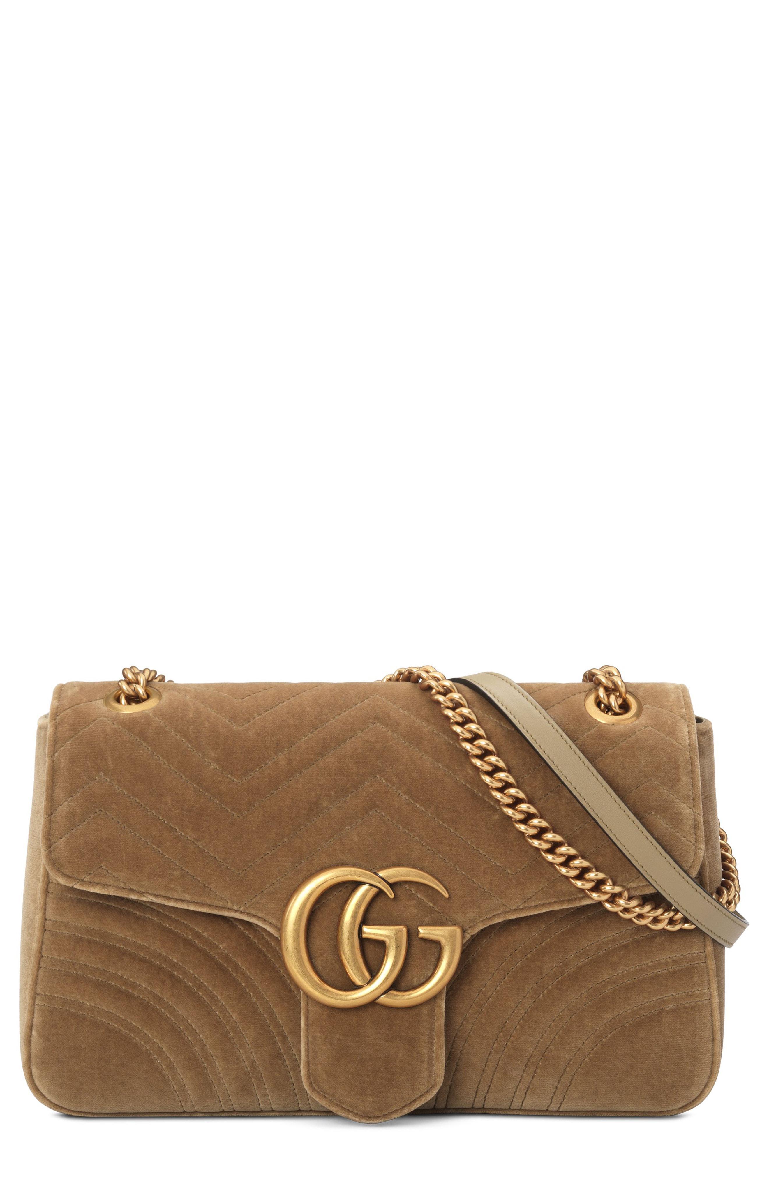 61283d74 Gucci Medium Gg Marmont 2.0 Matelasse Velvet Shoulder Bag in Brown ...
