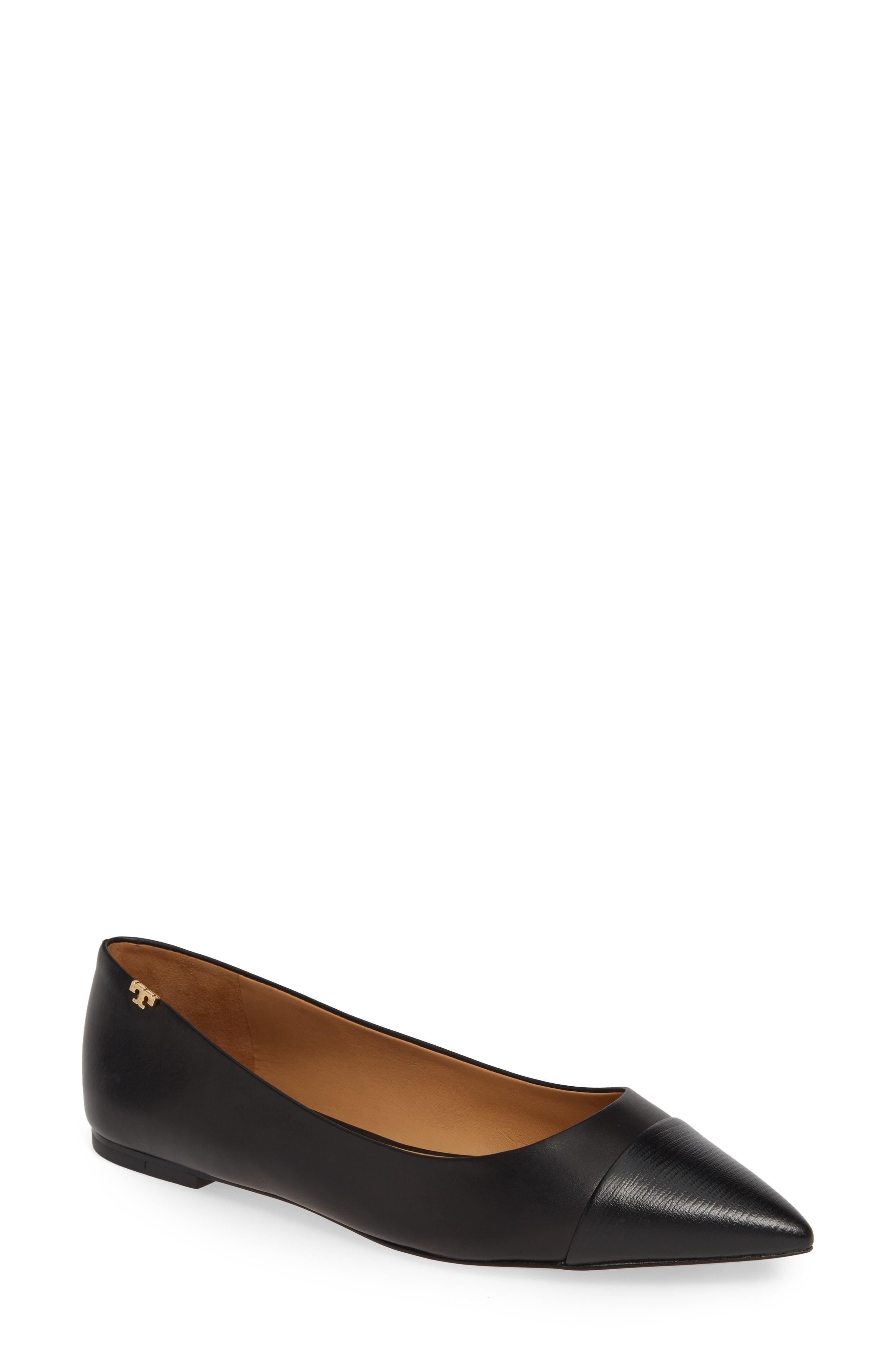 7b84f97356f1 Lyst - Tory Burch Angelina Cap Toe Flat in Black