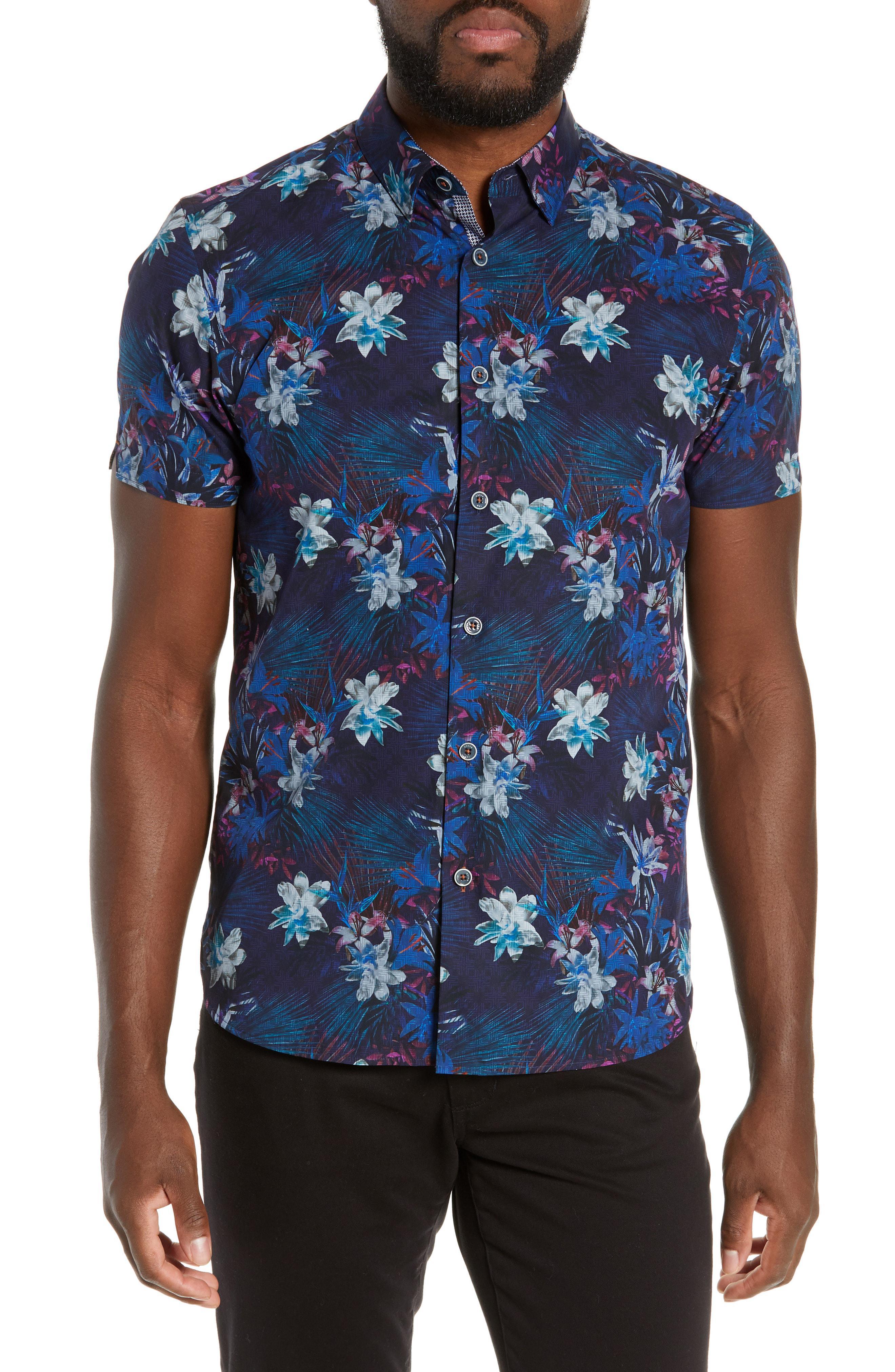 2da72c67b3f30 Lyst - Ted Baker Satfeel Slim Fit Print Shirt in Blue for Men