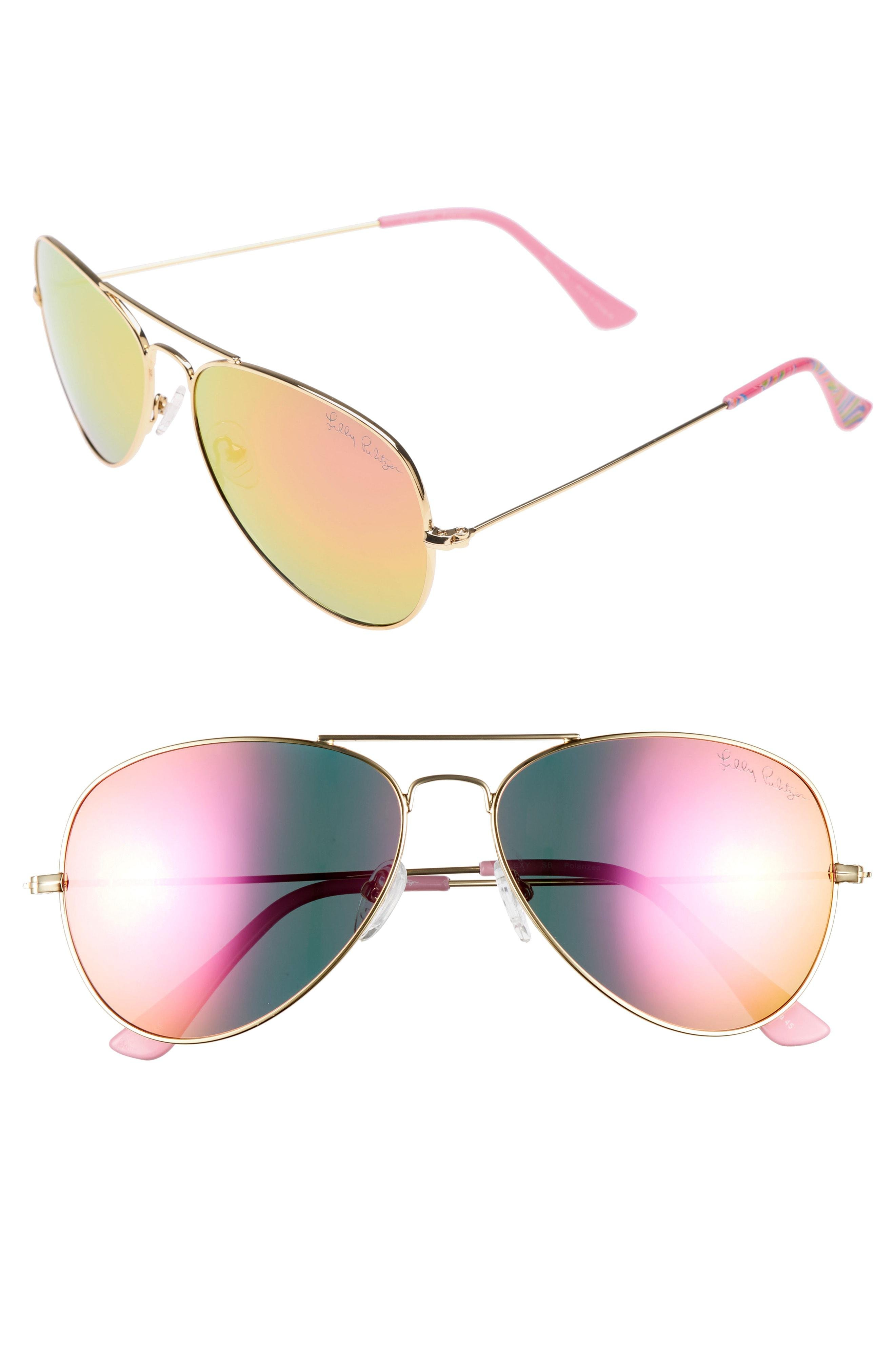 0743f2dcfe0 Lilly Pulitzer. Women s Pink Lilly Pulitzer Lexy 59mm Polarized Aviator  Sunglasses