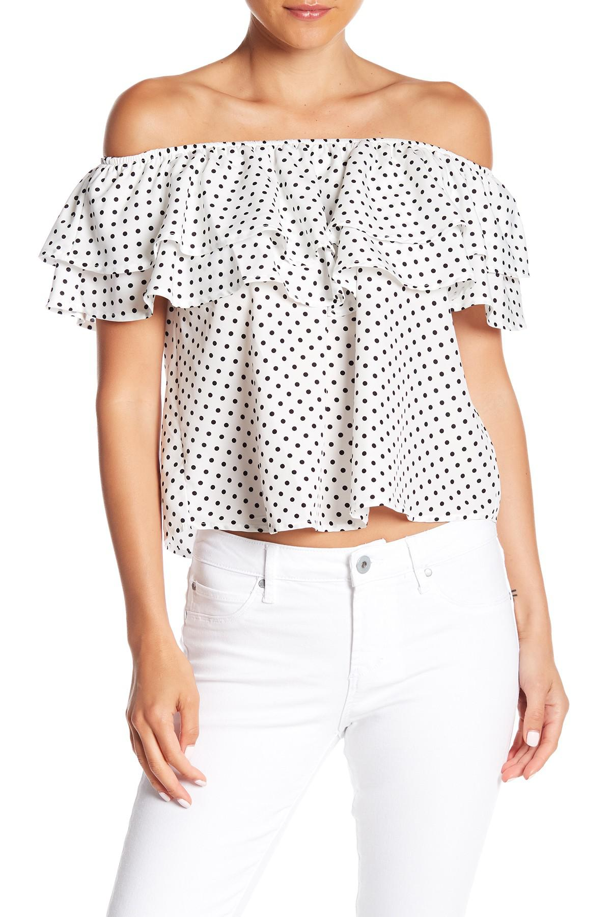 ca70239a4a3cd Lyst - Noa Elle Off-the-shoulder Polka Dot Ruffle Blouse in White