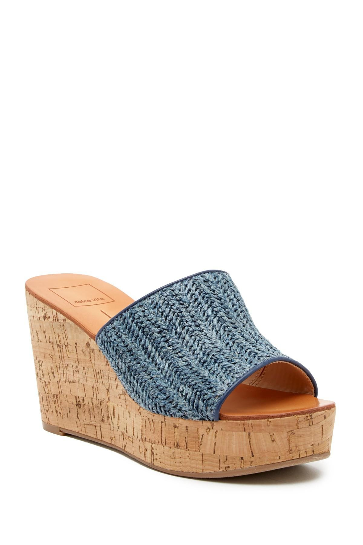 9b5b4c6902a Dolce Vita Barkley Cork Wedge Sandal in Blue - Lyst