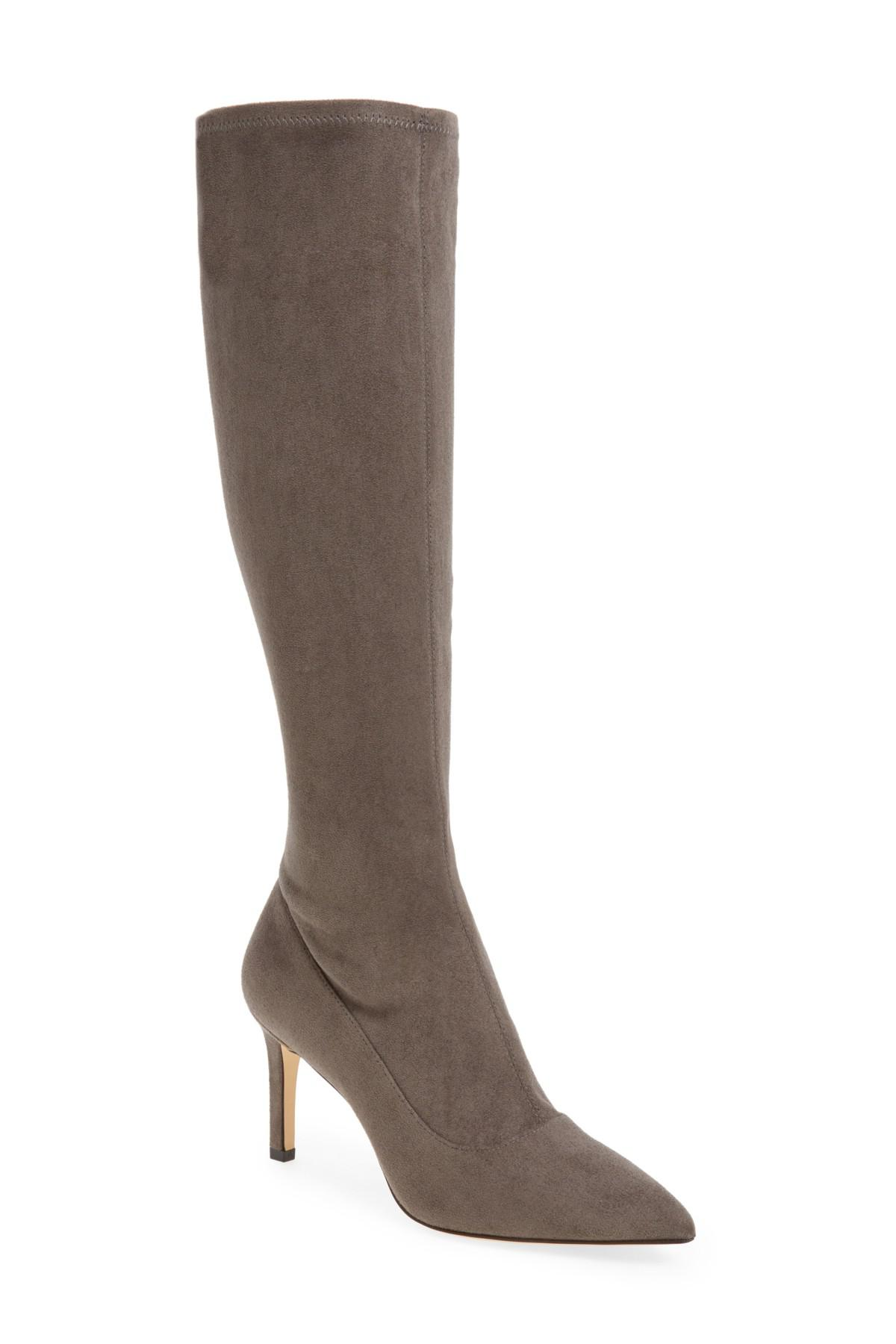 nine west carrara knee high pointy toe boot in gray lyst