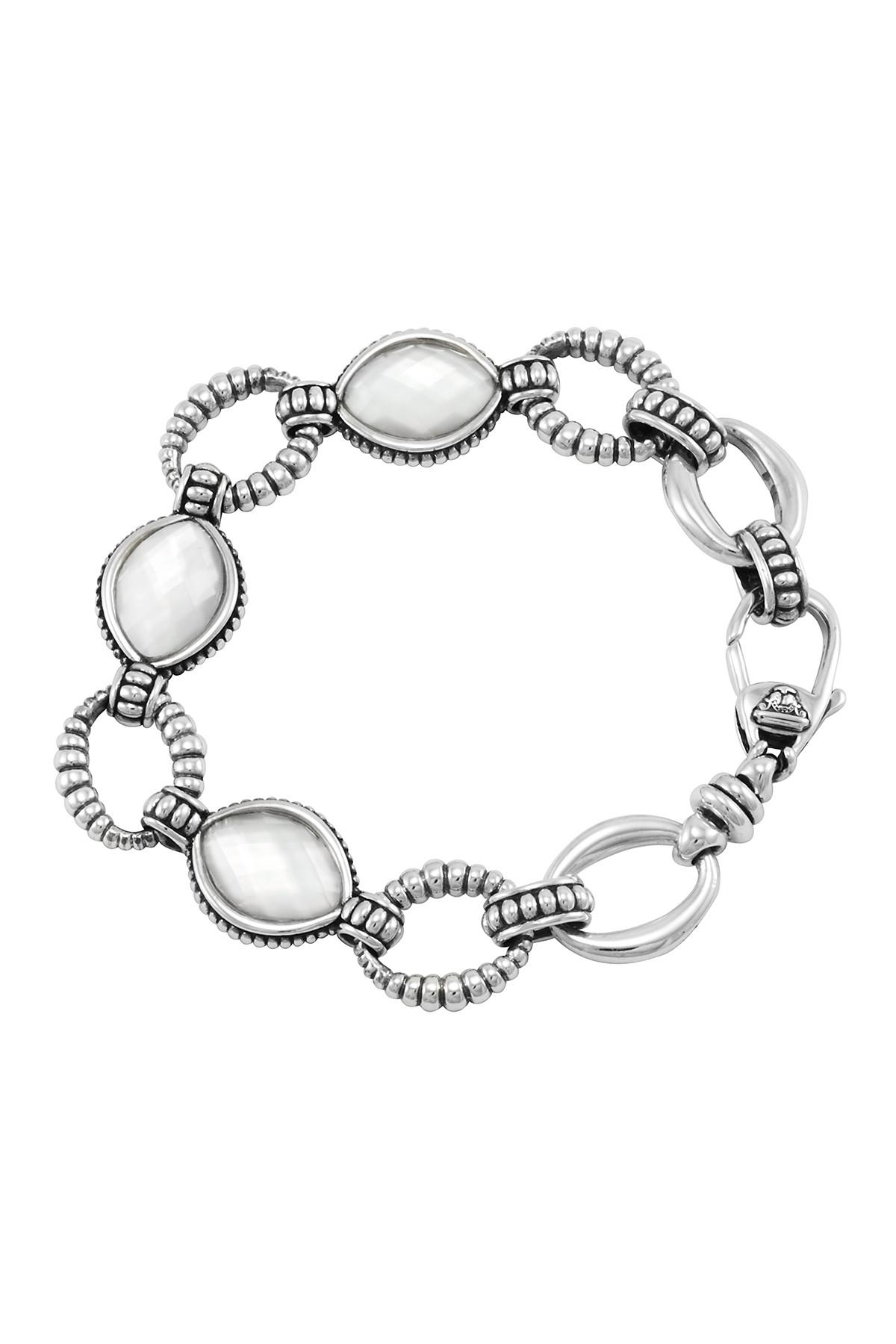 Lagos Sterling Silver Mother Of Pearl Oval Link Bracelet