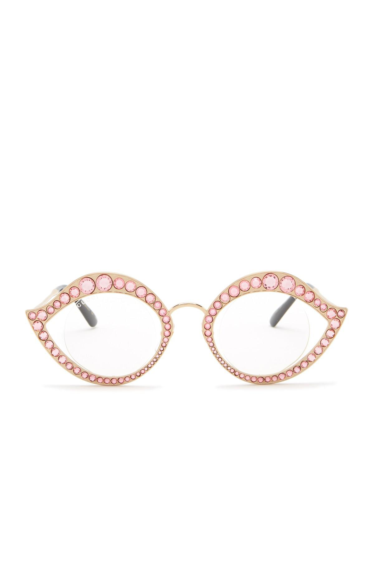 41aed759732 Lyst - Gucci 41mm Crystal Accented Cat Eye Sunglasses in Metallic