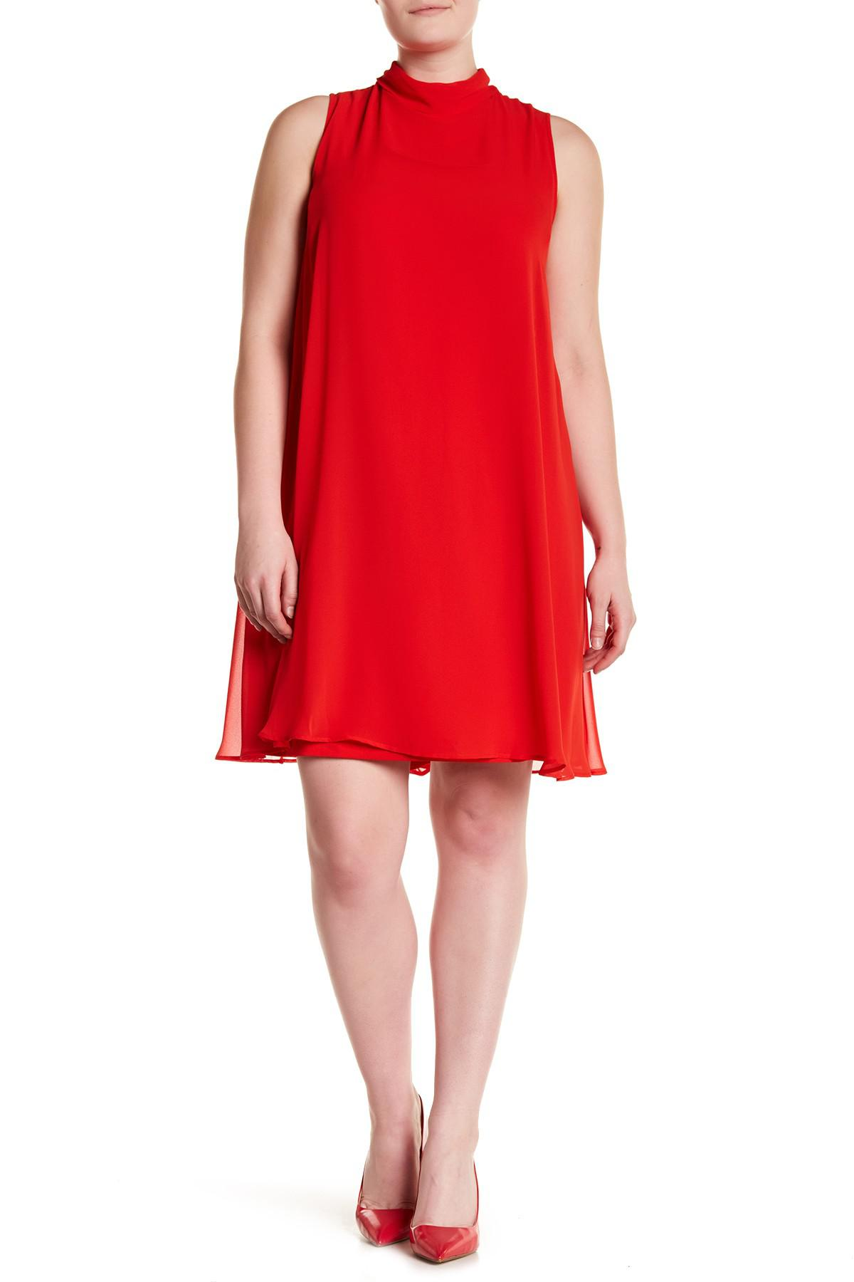 66462e6f5f1 Lyst - Sharagano Mock Neck Chiffon Overlay Dress (plus Size) in Red