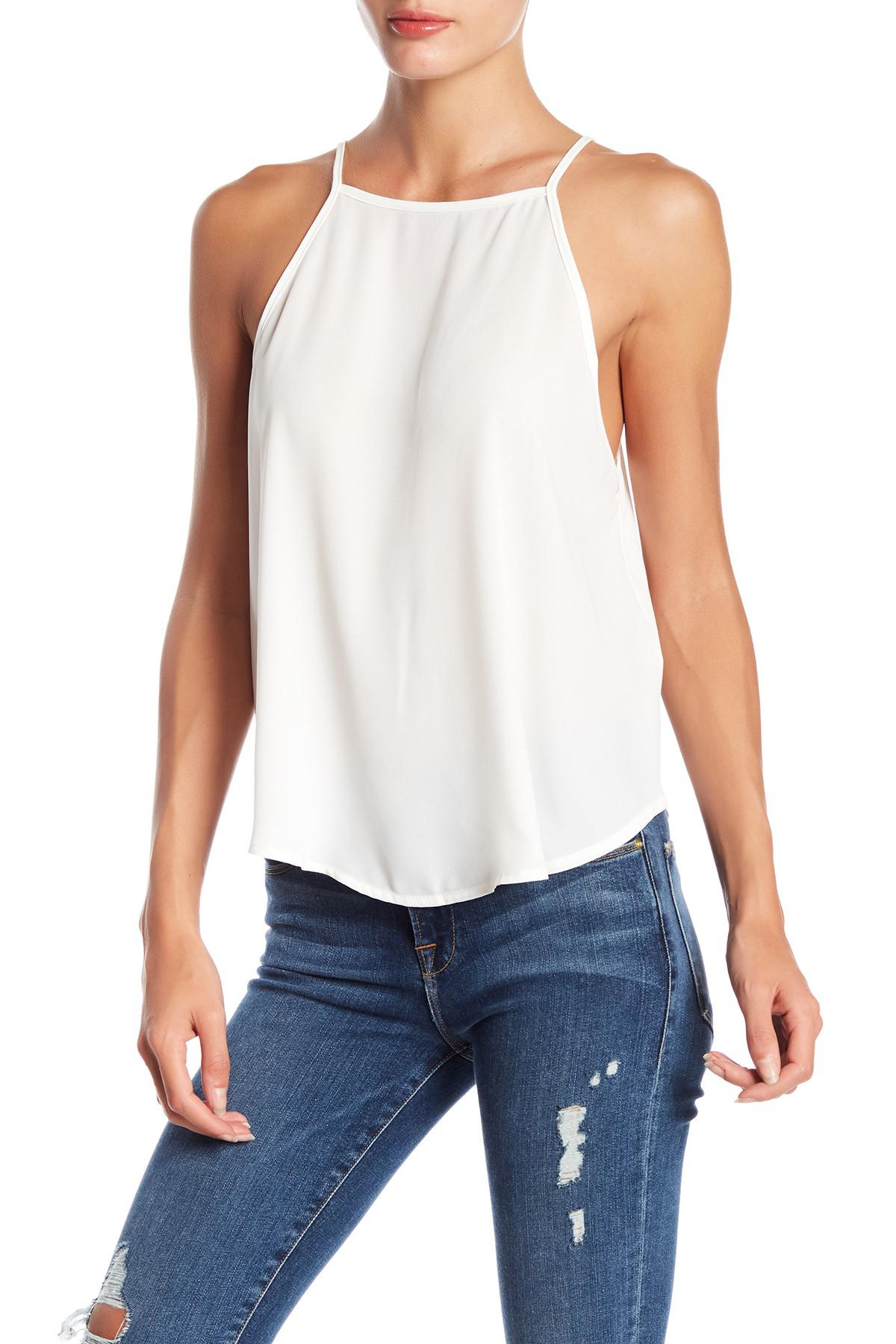 29f75848349f1 Lyst - Lush Woven Apron Neck Tank Top in White