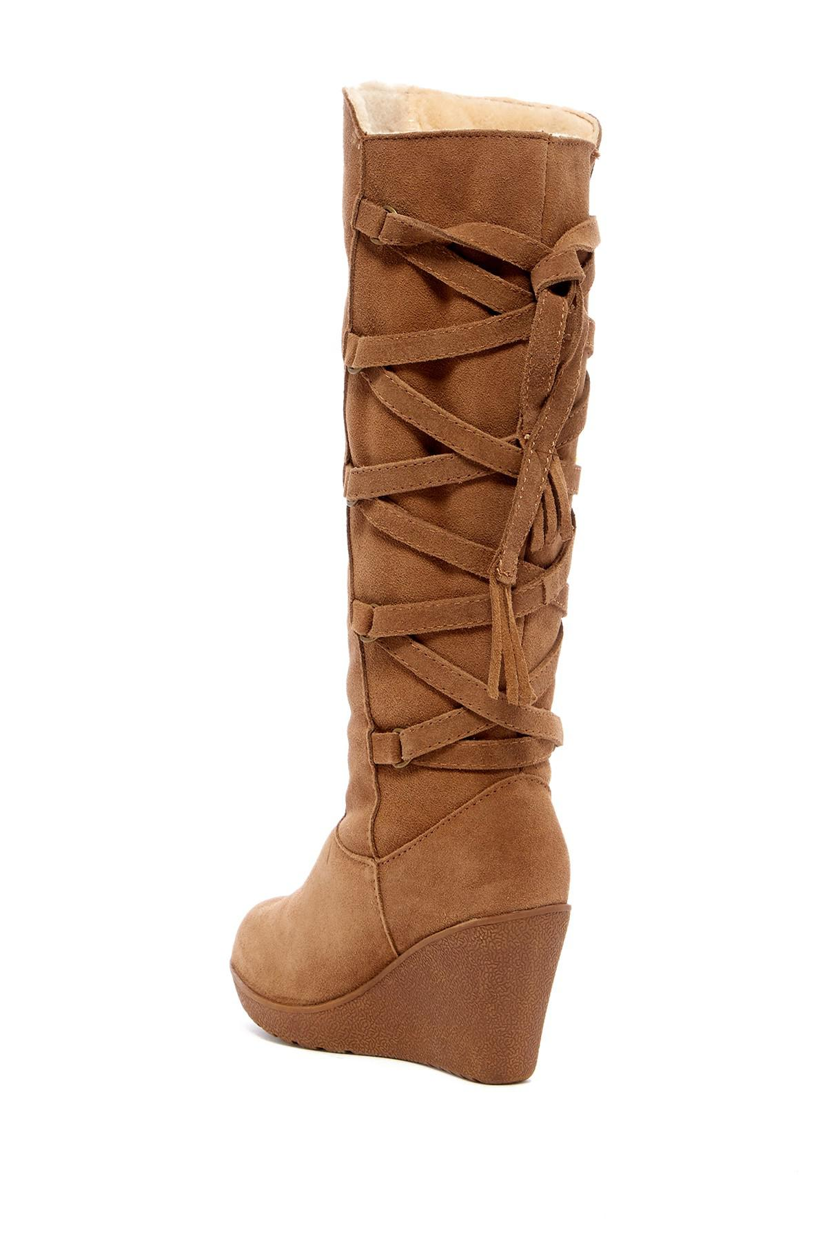 14e736124ff Lyst - BEARPAW Britney Genuine Shearling Tall Wedge Boot in Brown