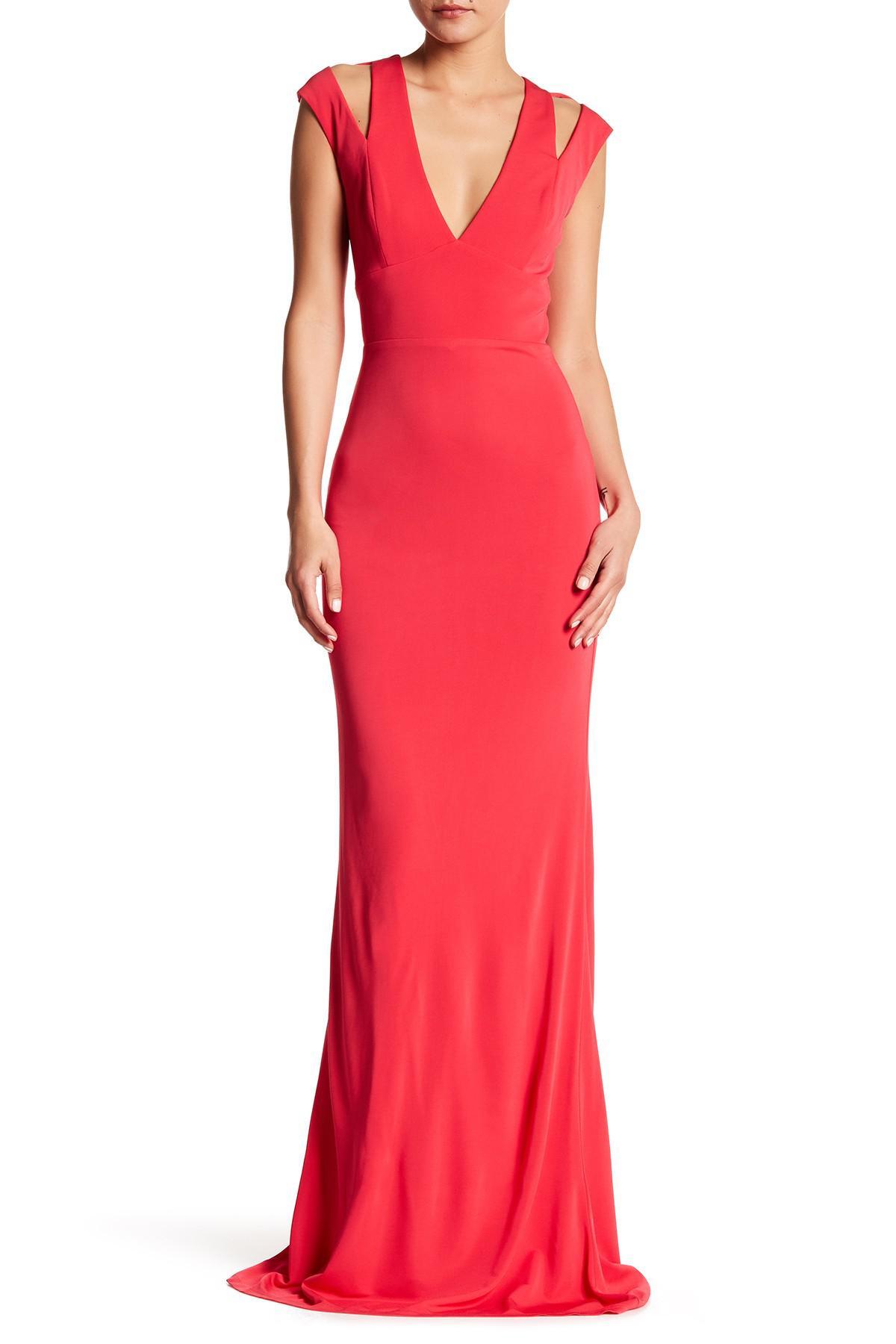 Lyst - Abs By Allen Schwartz Split Back Deep V-neck Gown in Red