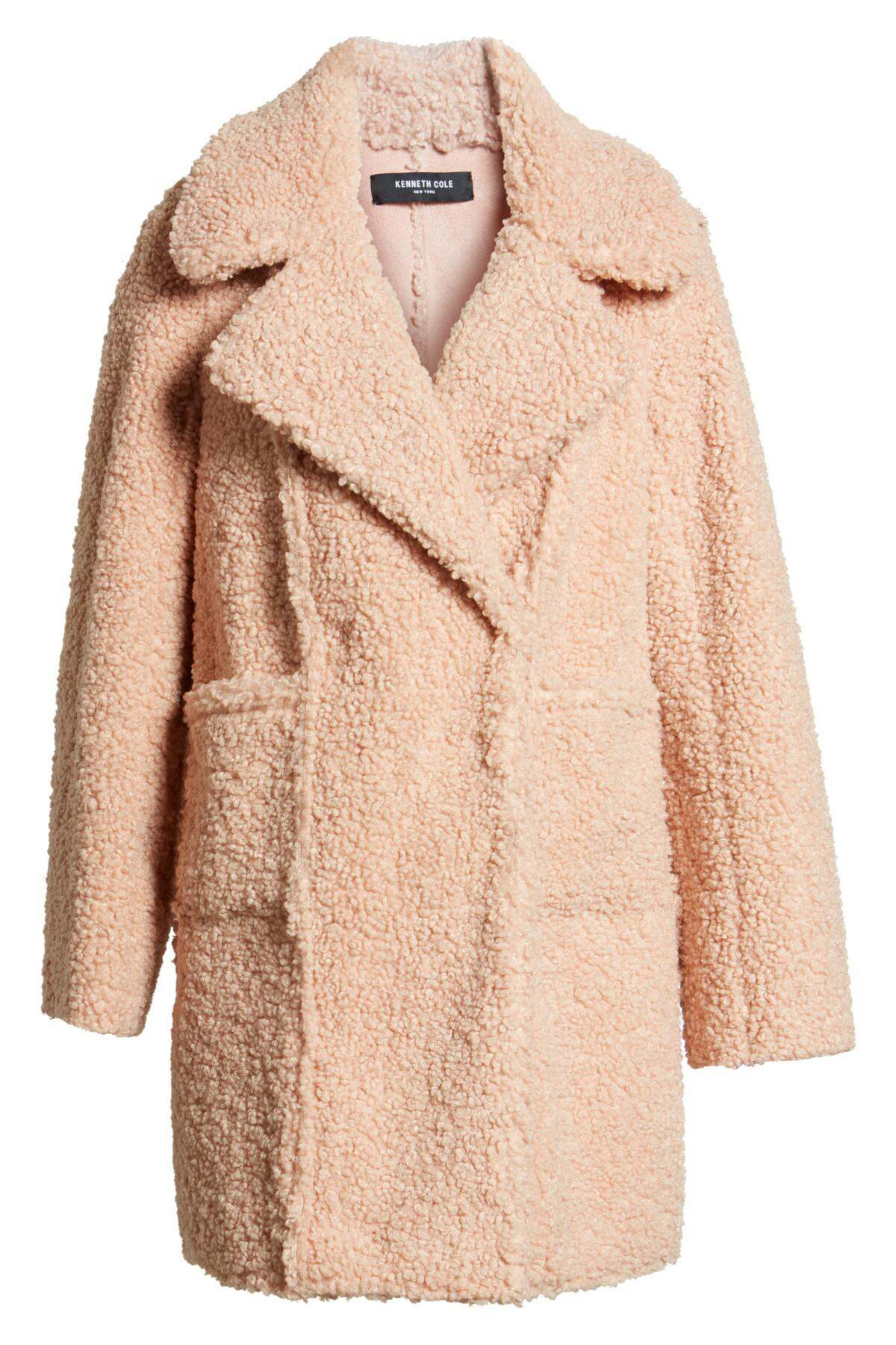 e24056bd1663f Lyst - Kenneth Cole Notch Collar Curly Faux Shearling Coat in Pink