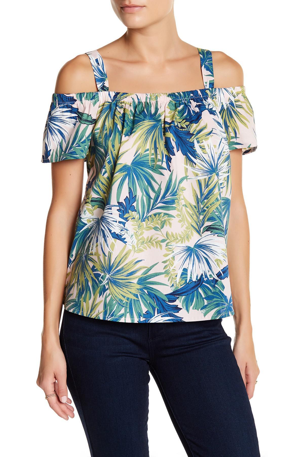 dcfe36176efc7 Lyst - Bobeau Floral Cold-shoulder Blouse (petite) in Blue