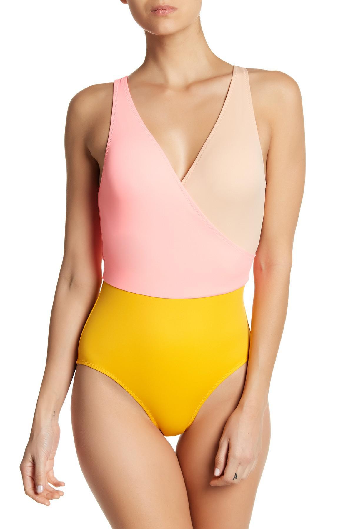 2d045382b23da Lyst - Solid   Striped Ballerina Colorblock One-piece Swimsuit