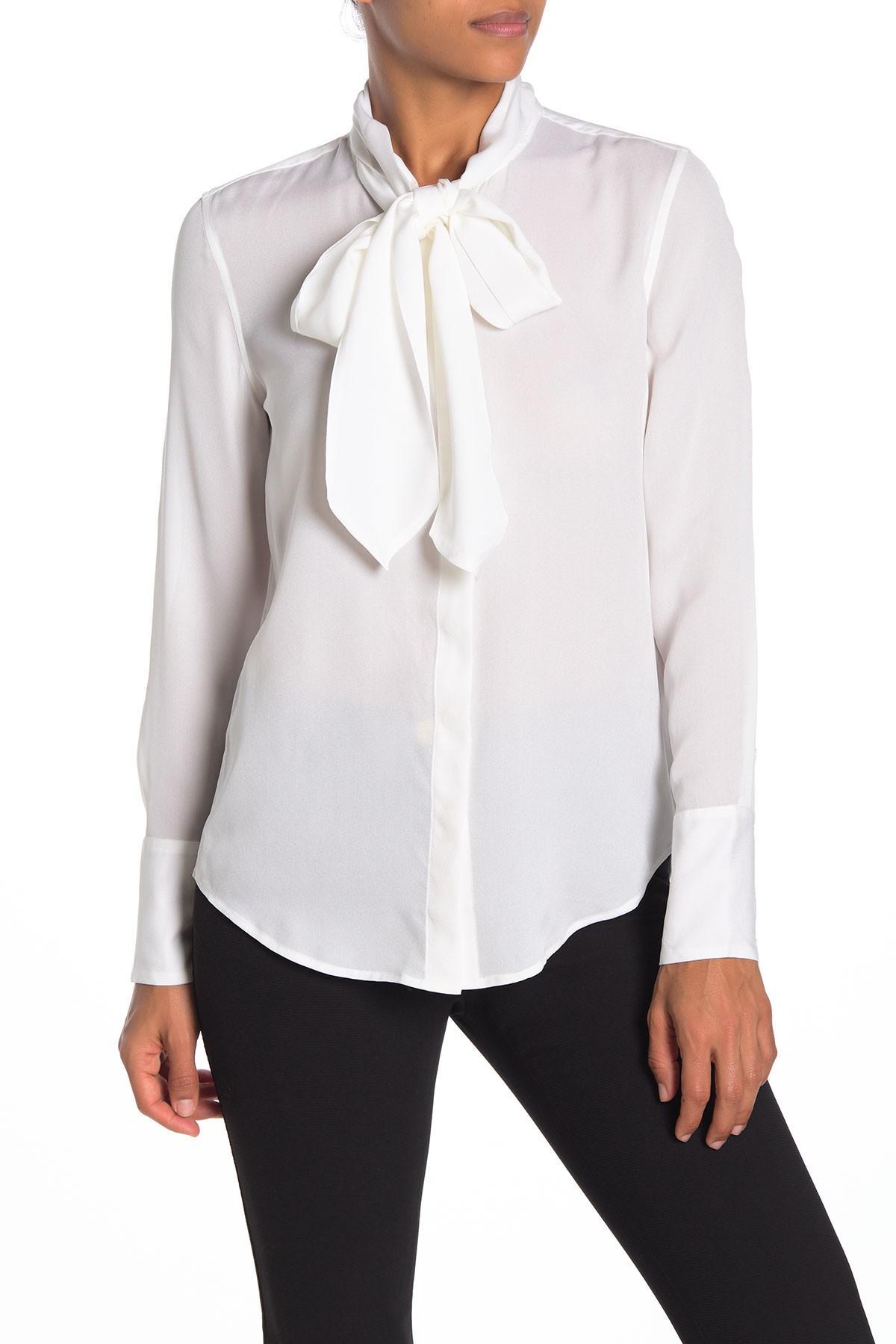 bea987d494ac40 Lyst - Equipment Luis Silk Tie Neck Button Down Shirt in White