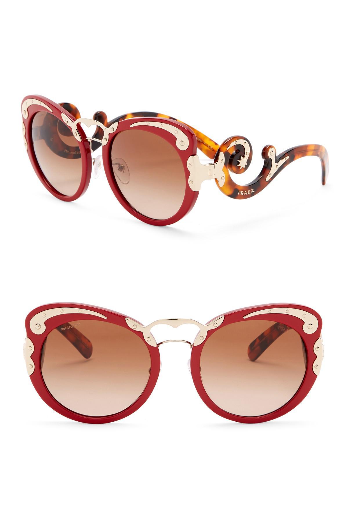 ebeae54e4d9 Lyst - Prada Minimal Baroque 54mm Round Sunglasses in Red
