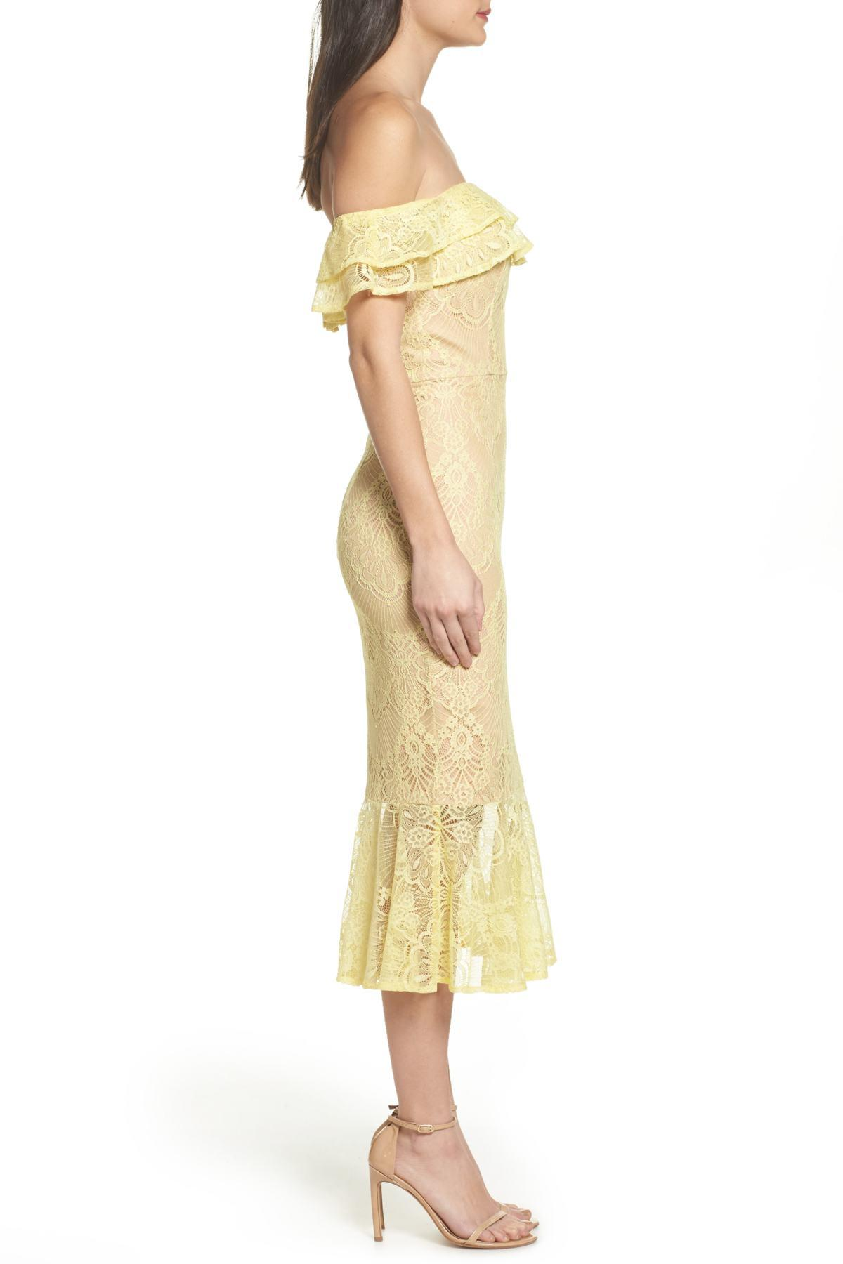f4139c2037f Jarlo Toril Off The Shoulder Lace Midi Dress in Yellow - Lyst