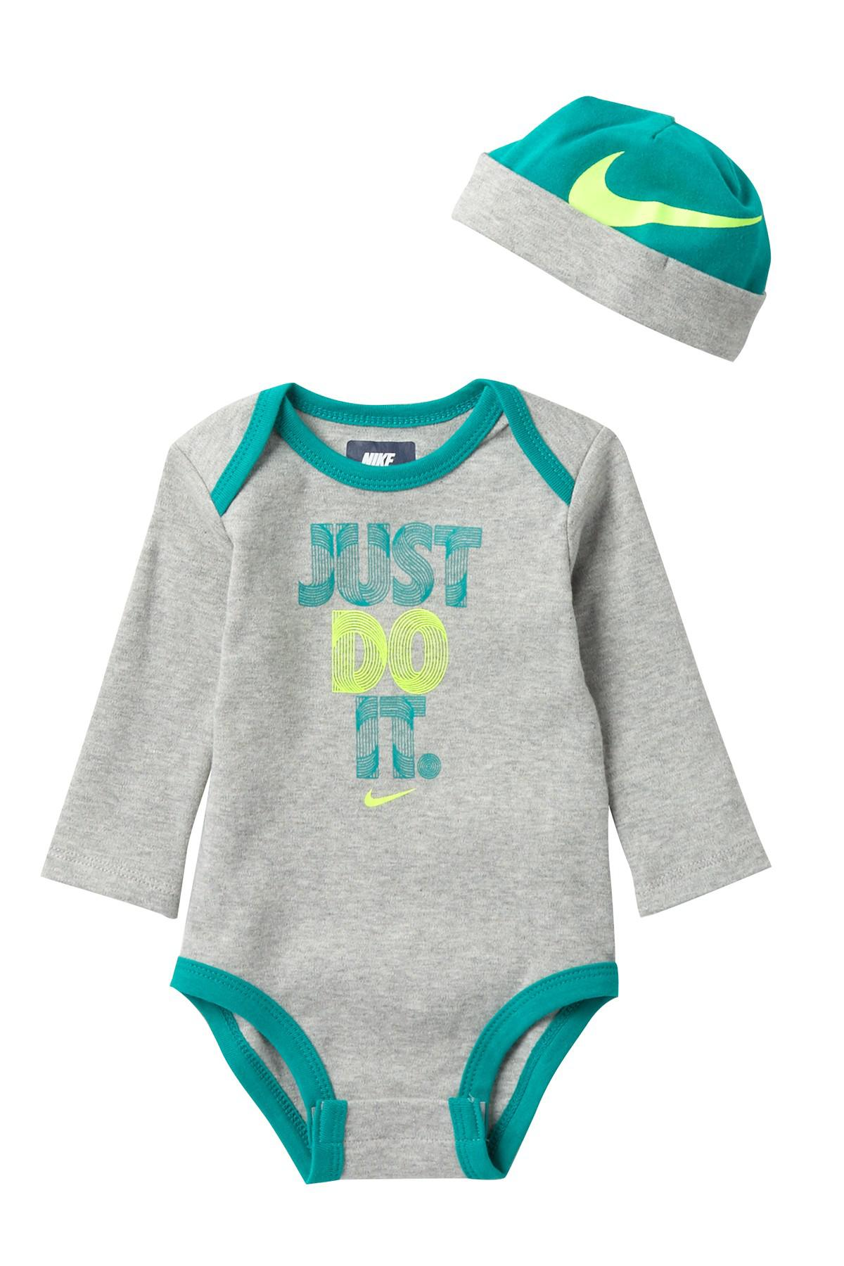 9eb25515c Lyst - Nike Just Do It Bodysuit With Hat (baby Boys) in Blue