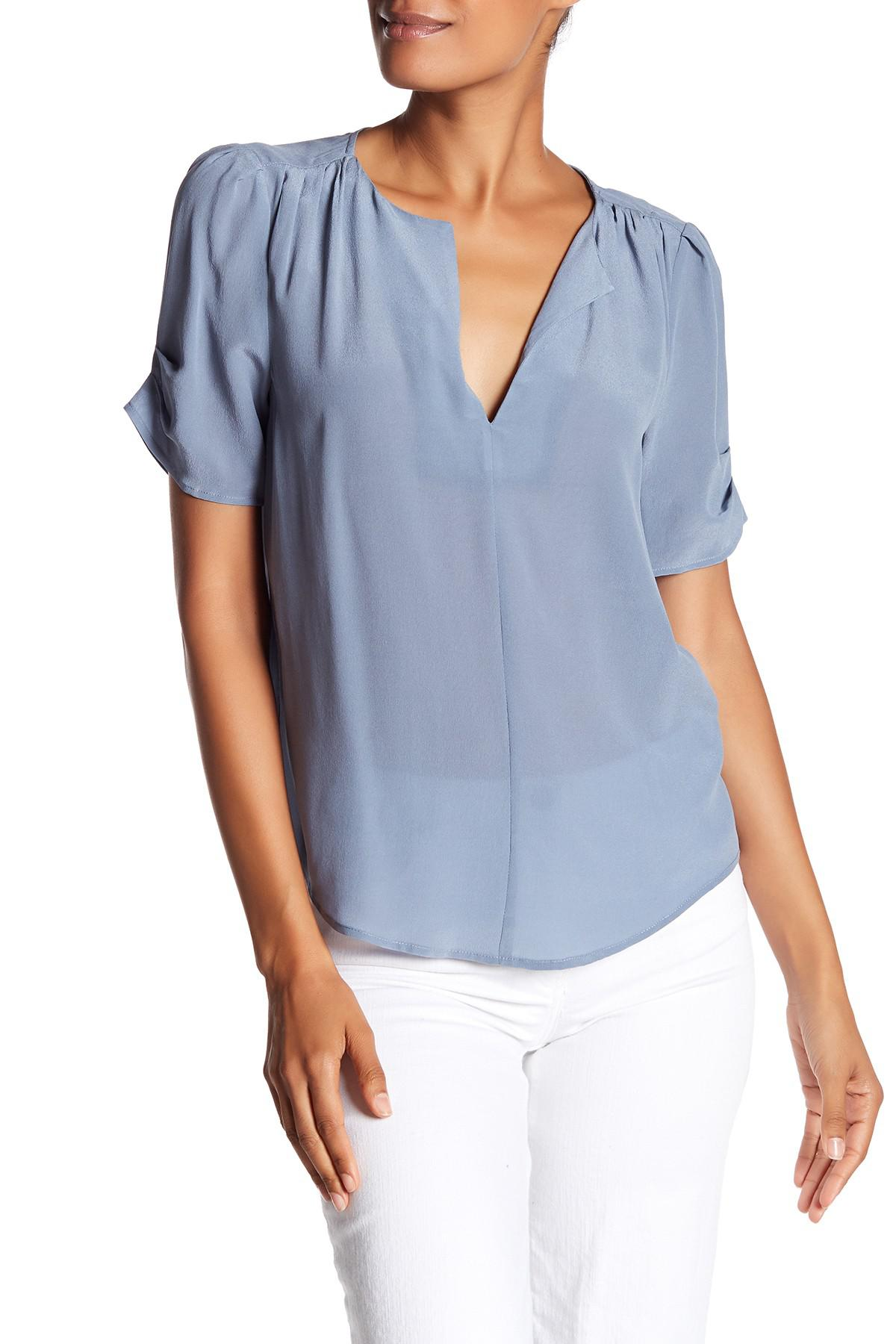 0cb29bb998d525 Lyst - Joie Amone Pleat Silk Blouse in Blue