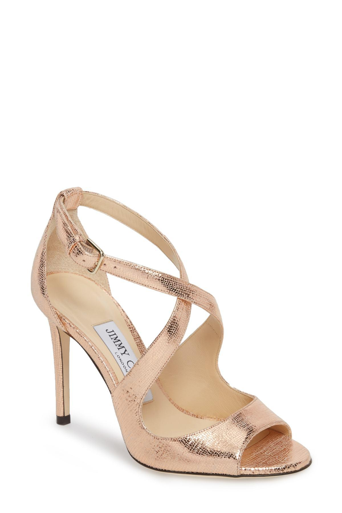 f707e202063 Lyst - Jimmy Choo 100mm Emily Peep Toe Sandal in Metallic