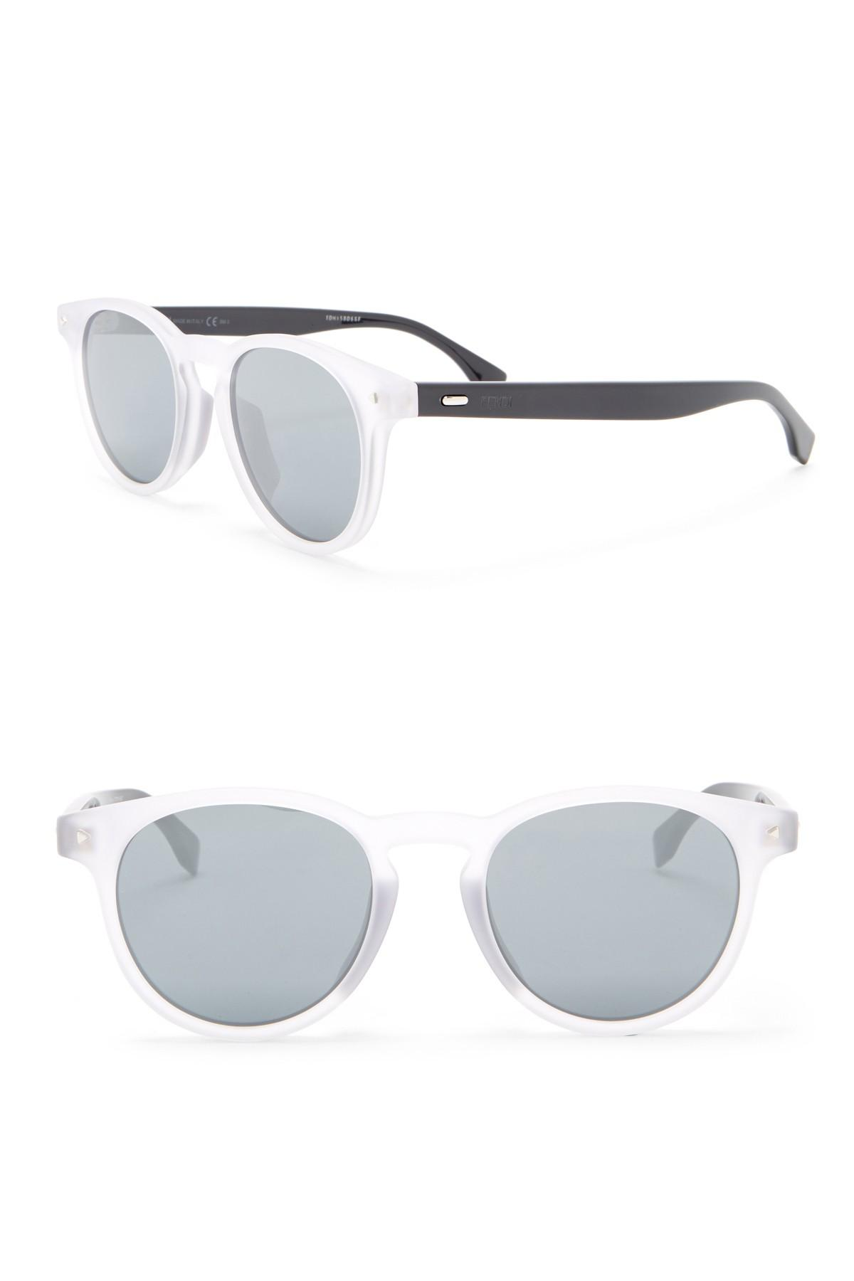b277b6a4f0b Lyst - Fendi Modified Oval 49mm Sunglasses in White for Men
