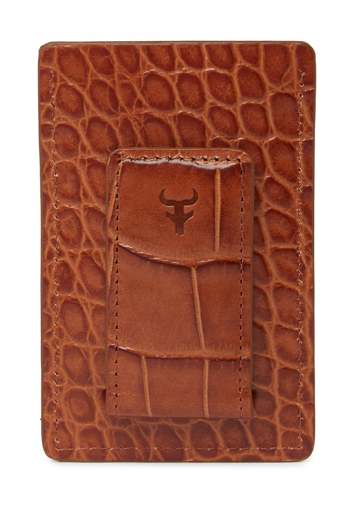 f0417f1baec8 Lyst - Trask Jackson Croc Embossed Leather Card Wallet in Brown for Men