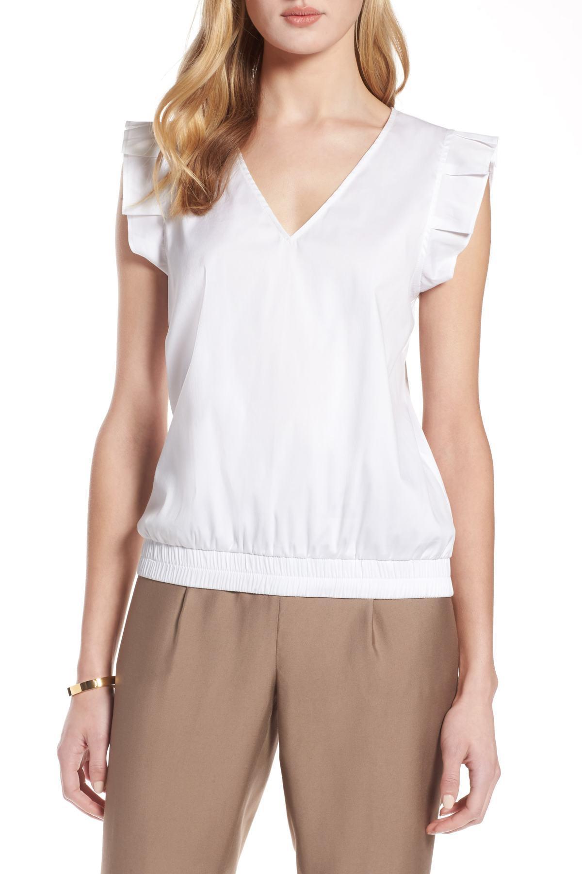 03c17912190 Lyst - Halogen (r) Pleat Sleeve Blouse (regular   Petite) in White