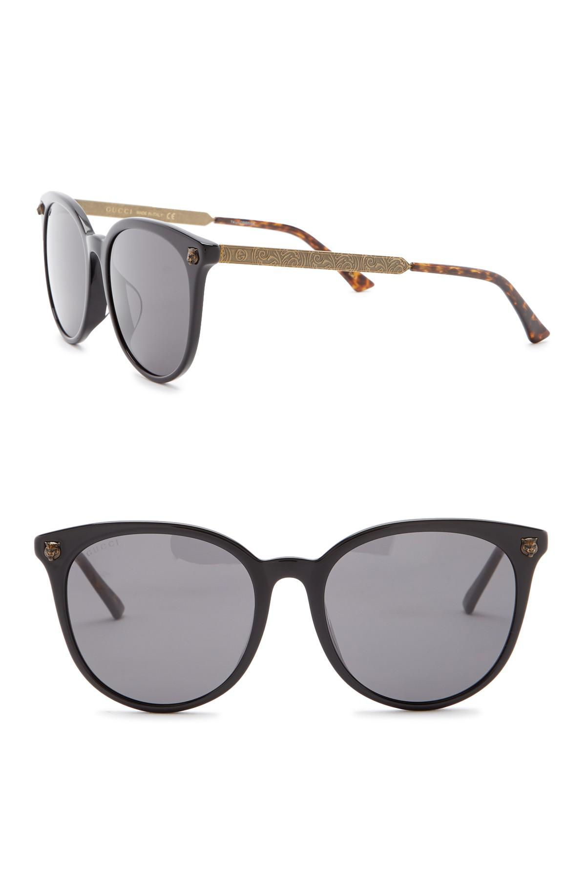 8cea0bd9477 Lyst - Gucci 56mm Scroll Round Sunglasses in Gray