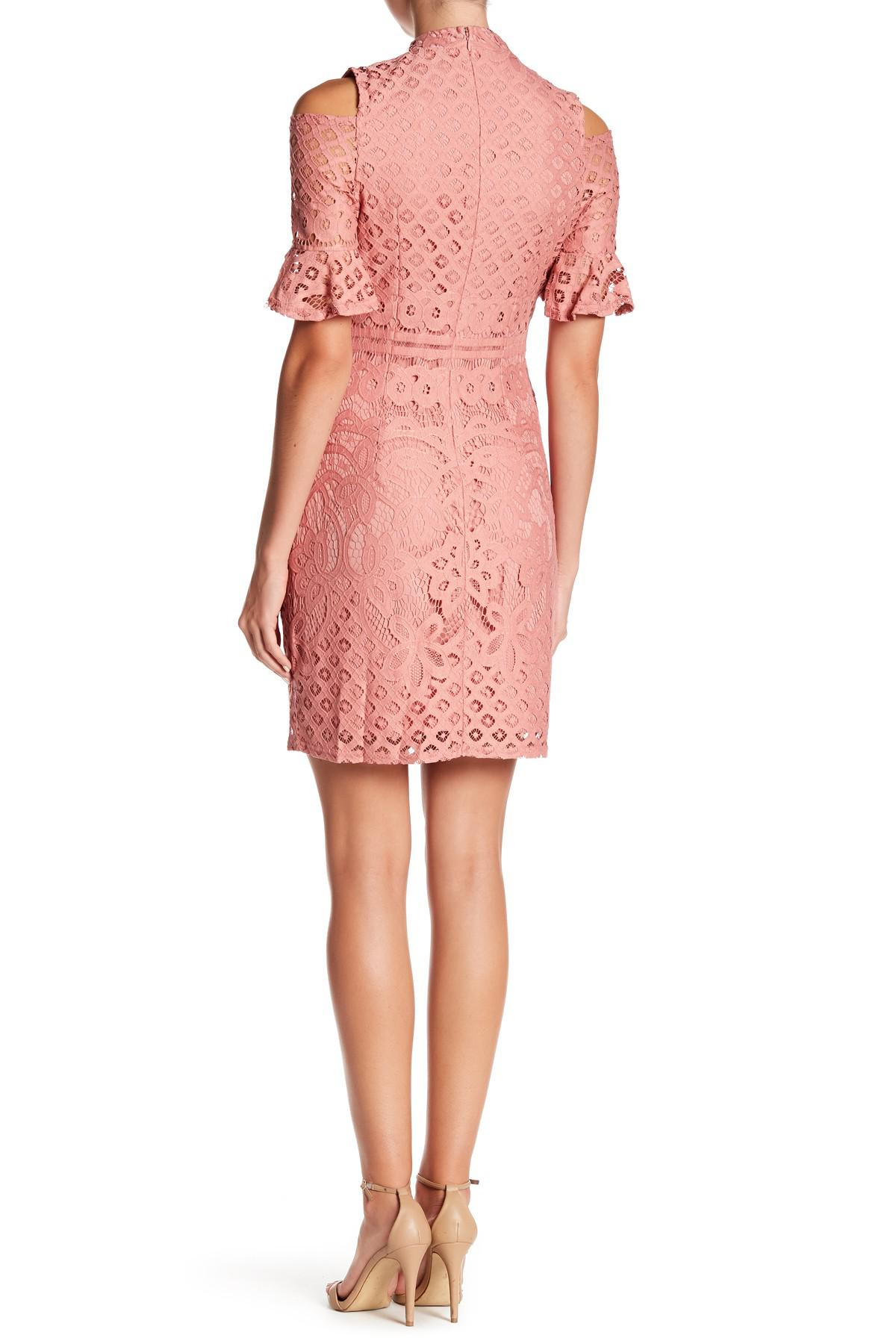 a773c950c13 Lyst - Sharagano High Crew Neck Cold Shoulder Dress in Pink