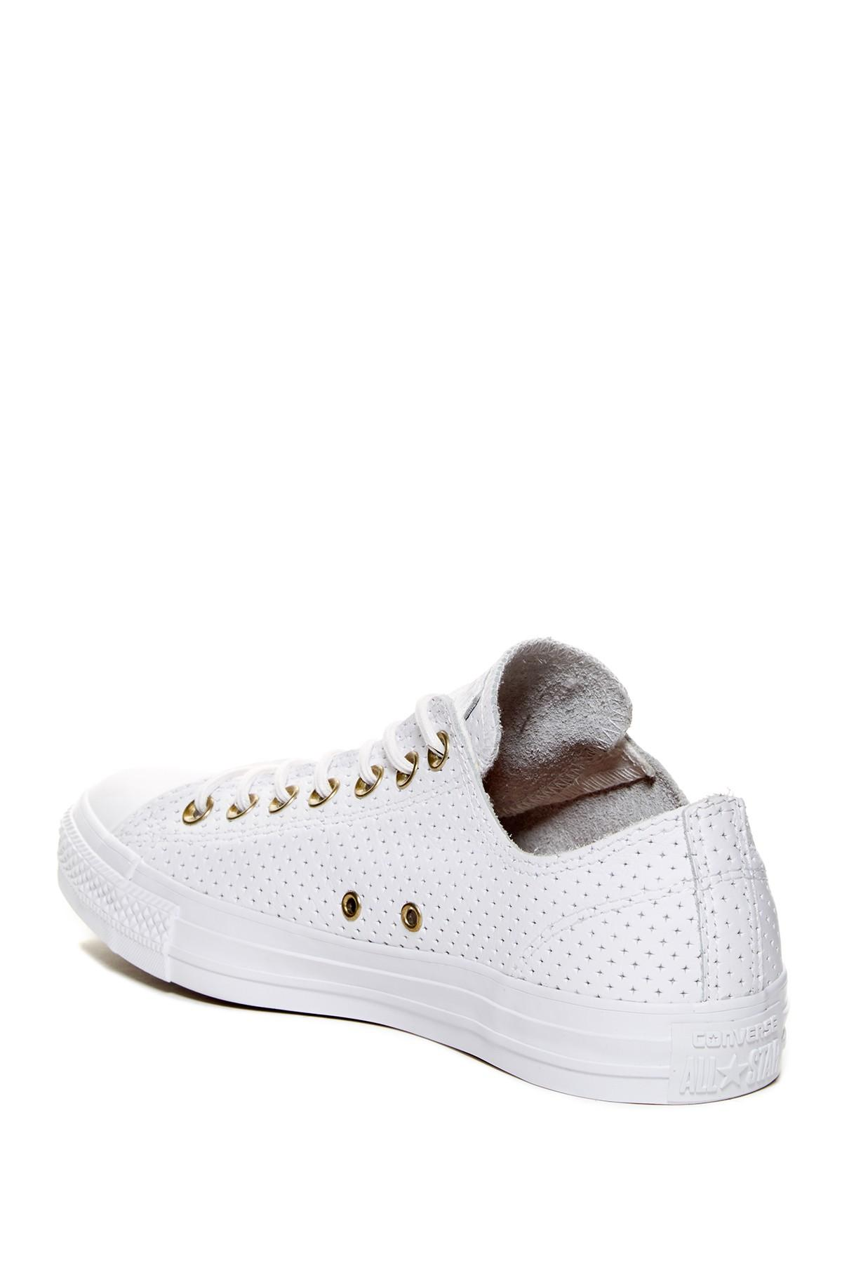 06fabfd16385 Lyst - Converse Chuck Taylor All Star Perforated Leather Oxford Low ...