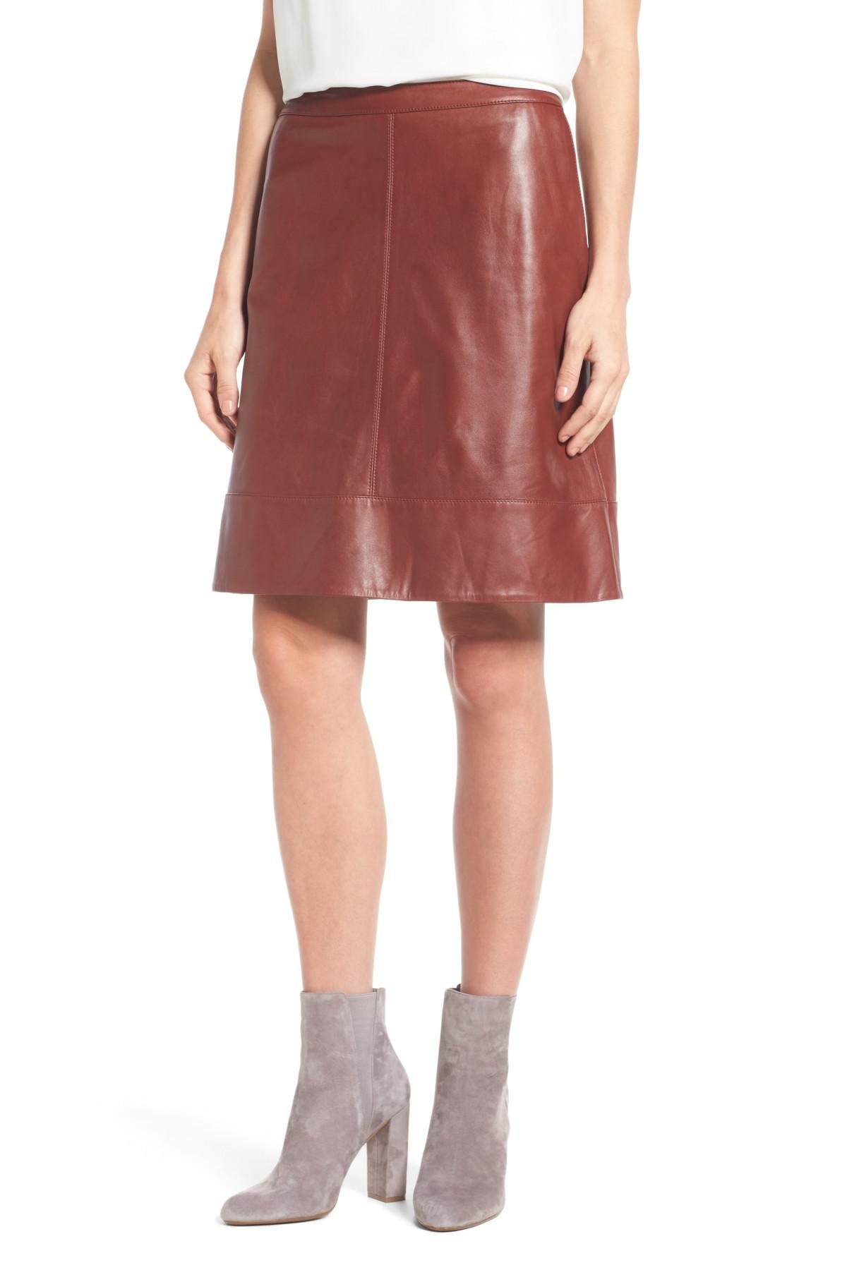 dba4f7a778 Halogen (r) A-line Leather Skirt (regular & Petite) in Red - Lyst