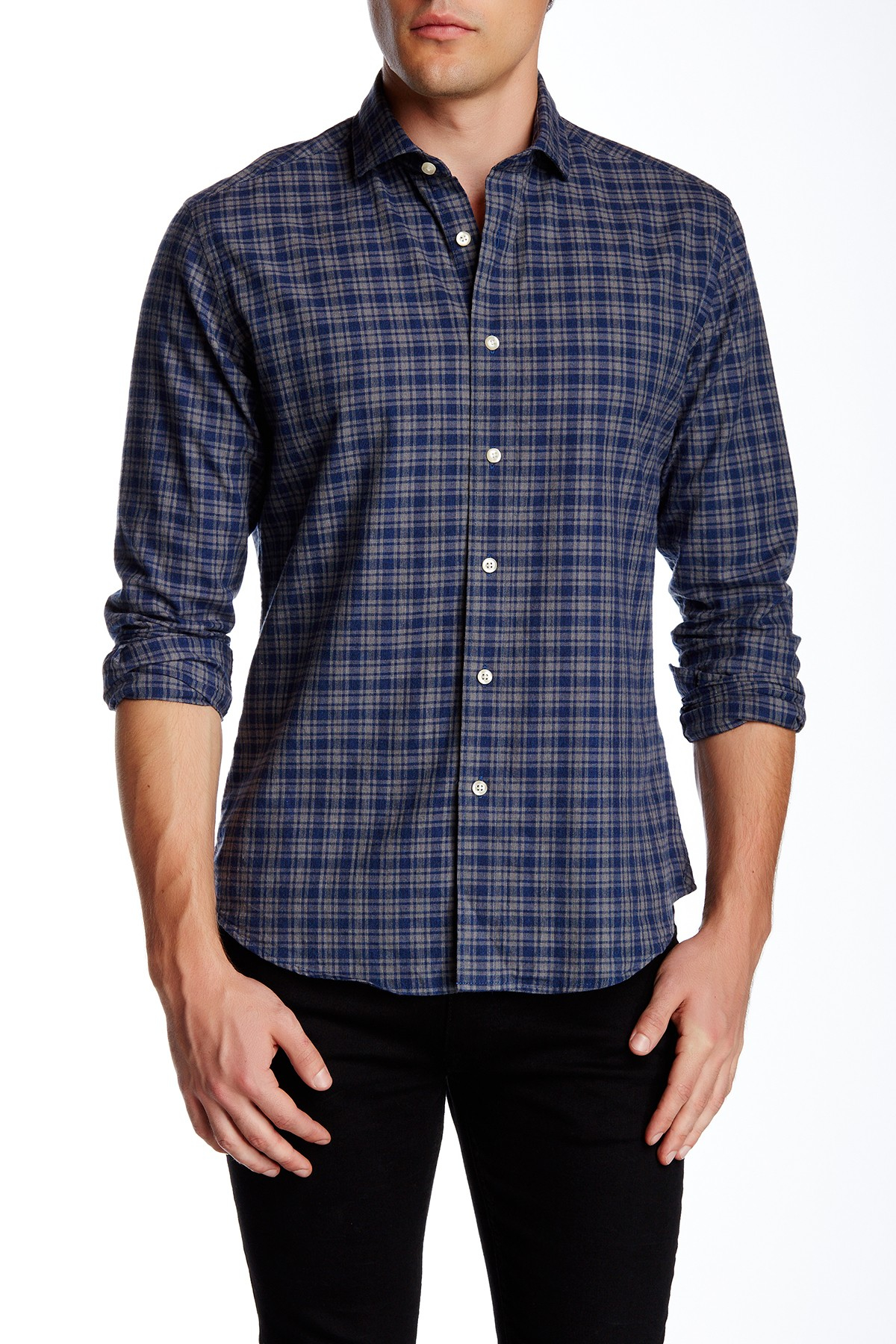 Slate And Stone Clothing : Lyst slate stone button front slim fit shirt in blue