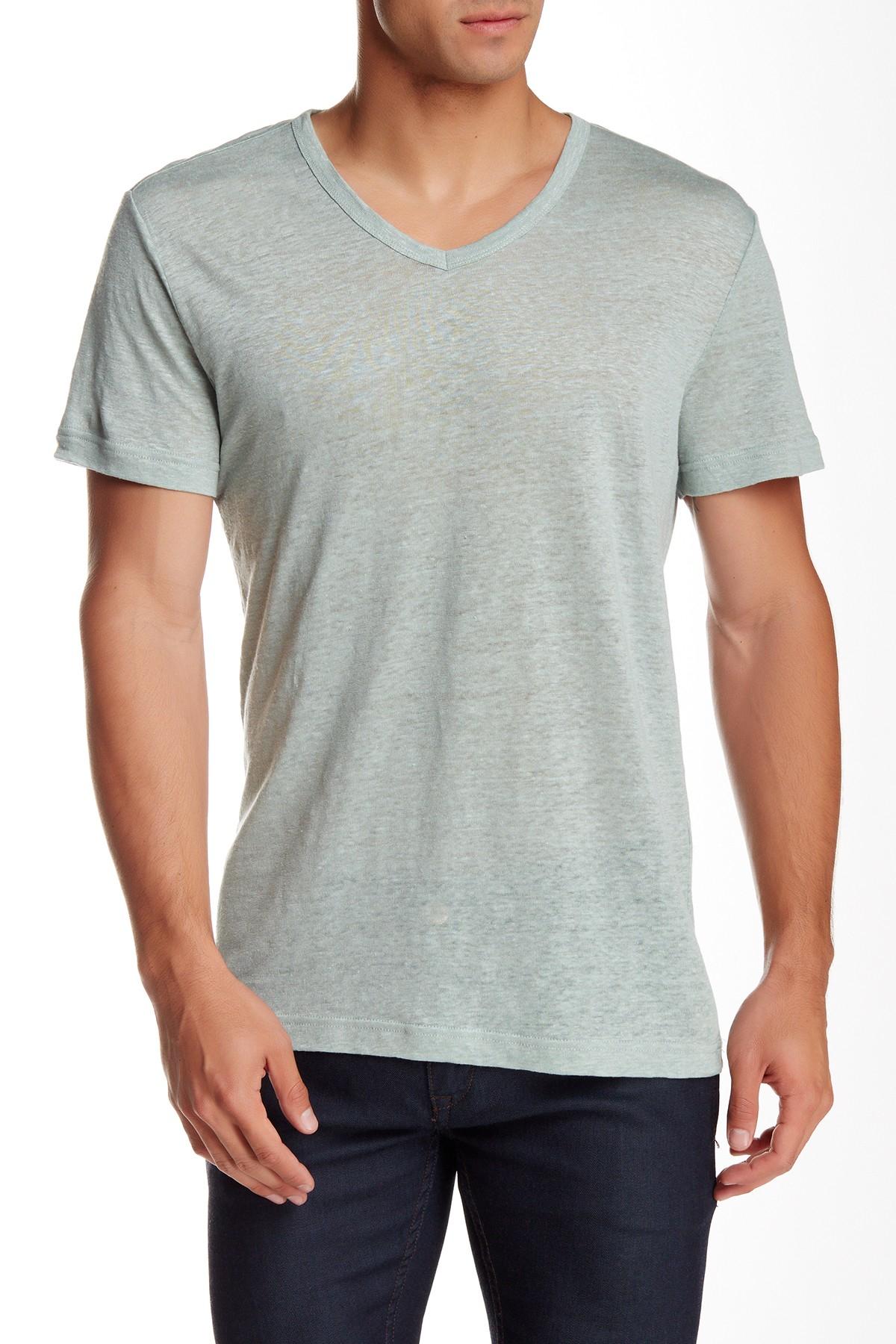 Slate And Stone Clothing : Slate stone short sleeve v neck linen tee in gray for