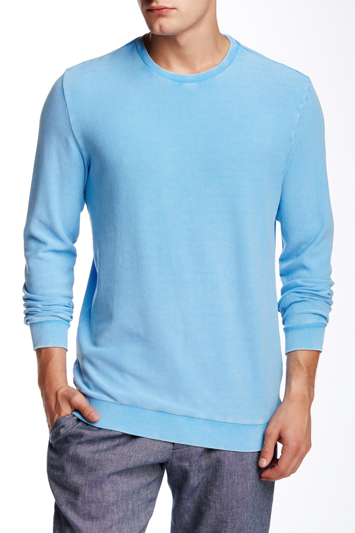 Slate And Stone Clothing : Lyst slate stone crew neck long sleeve tee in blue for men