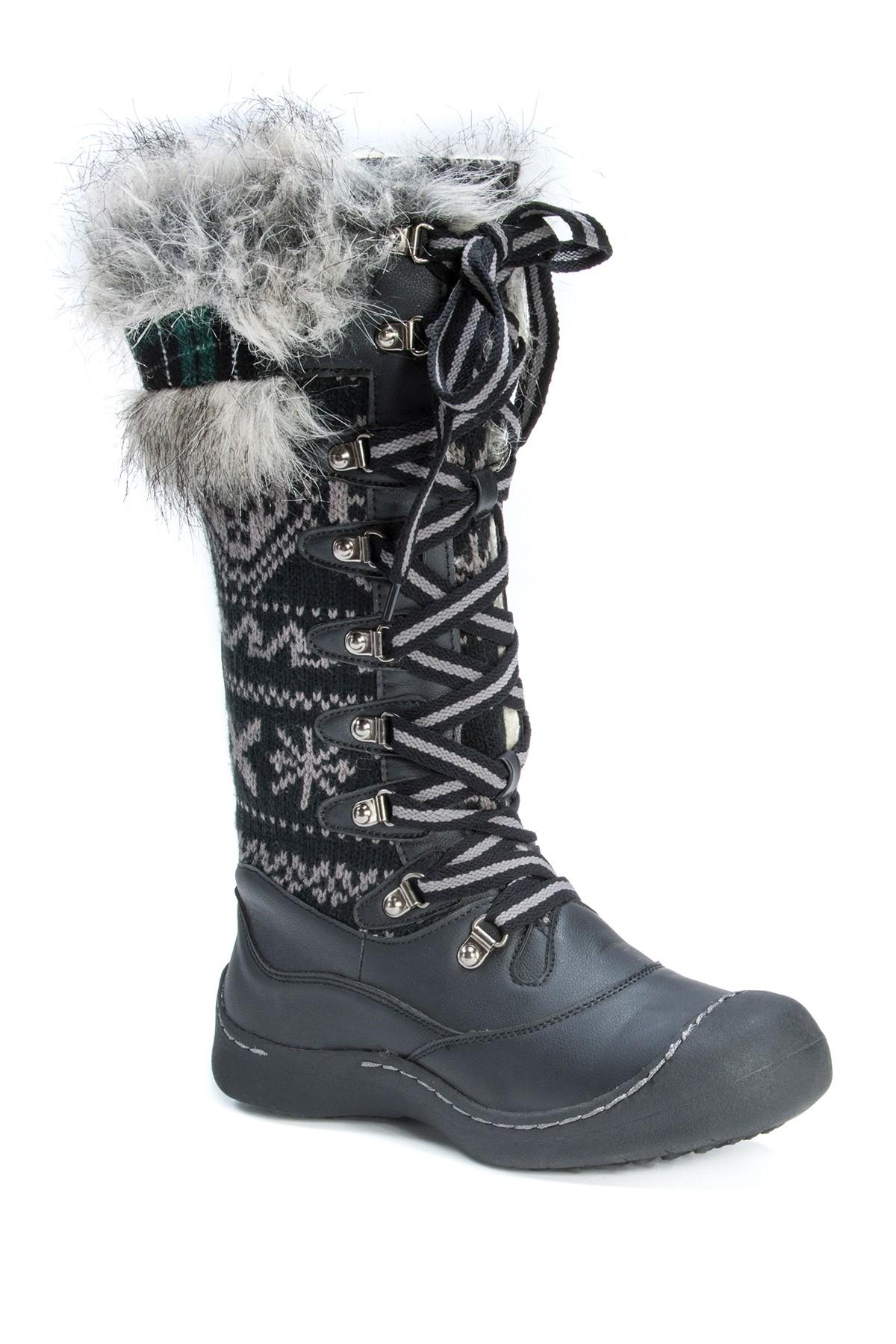 Lyst Muk Luks Gwen Faux Fur Trimmed Snow Boot In Black