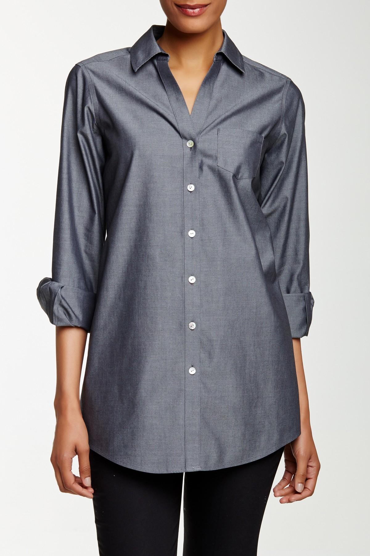 Lyst Foxcroft Long Sleeve Shaped Fay Tunic In Gray