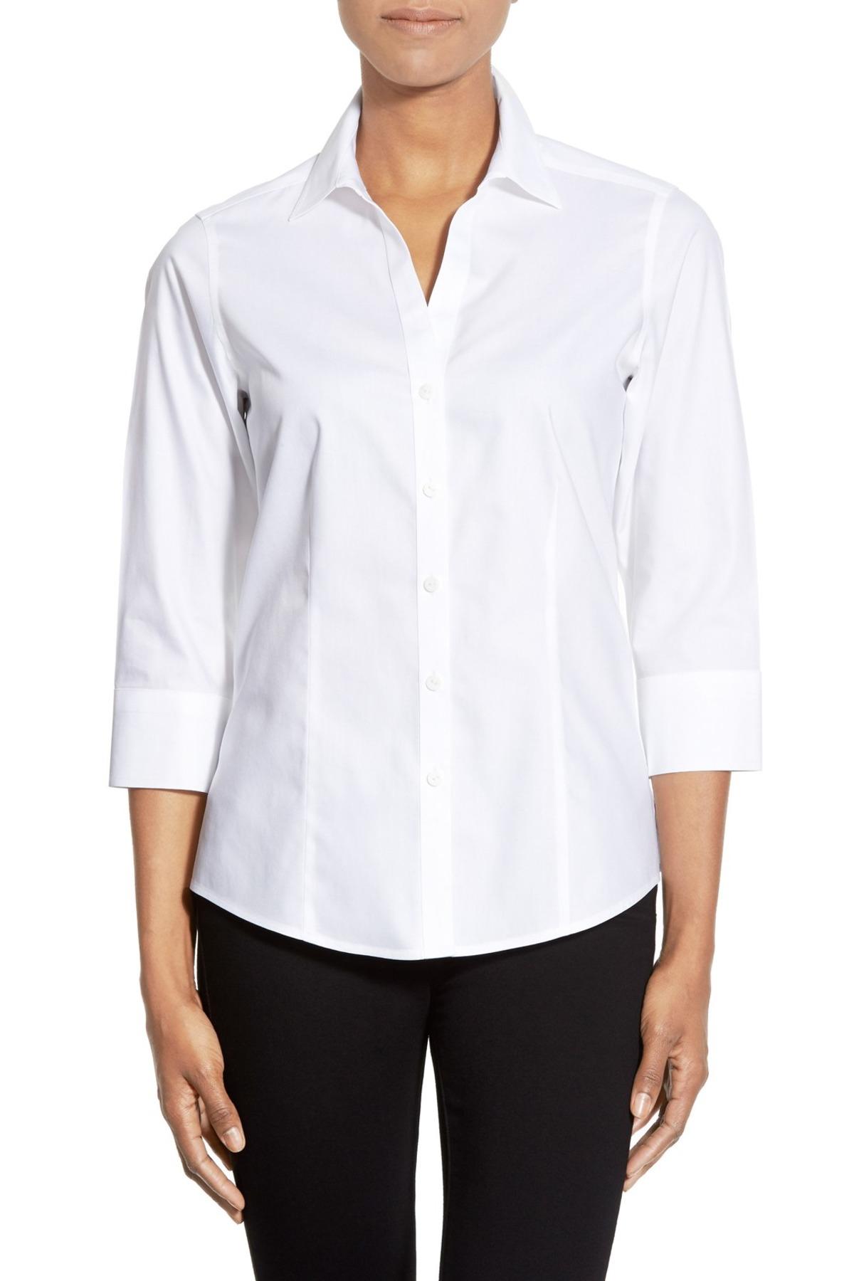 Foxcroft three quarter sleeve non iron cotton shirt for No iron cotton shirts