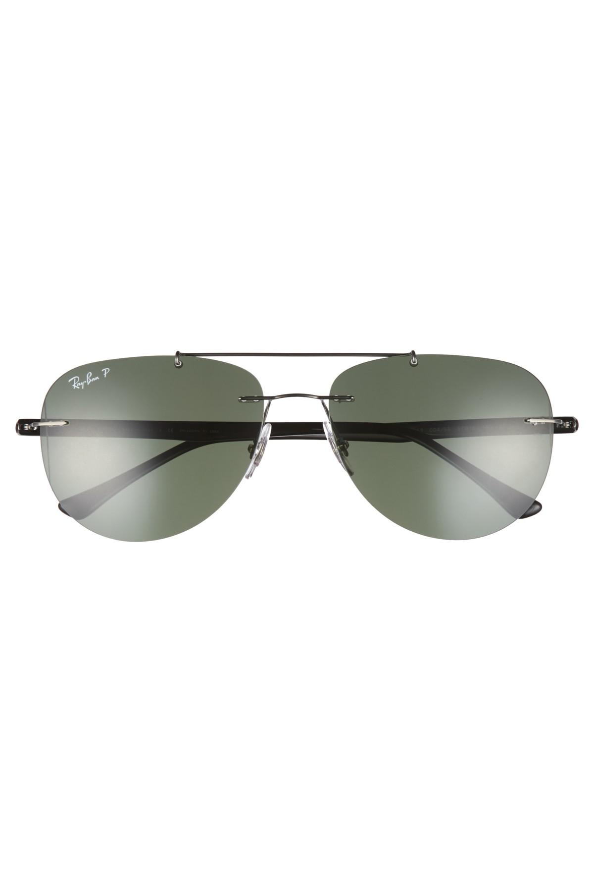 a82e6b3ed53 Lyst - Ray-Ban Phantos 57mm Polarized Rimless Aviator Sunglasses