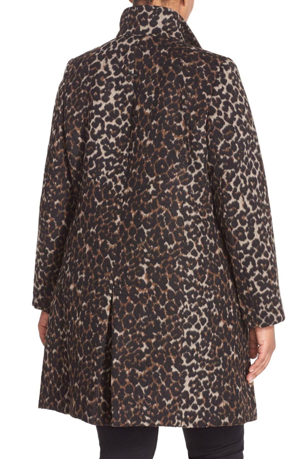 Lyst Via Spiga Leopard Print Stand Collar Coat Plus