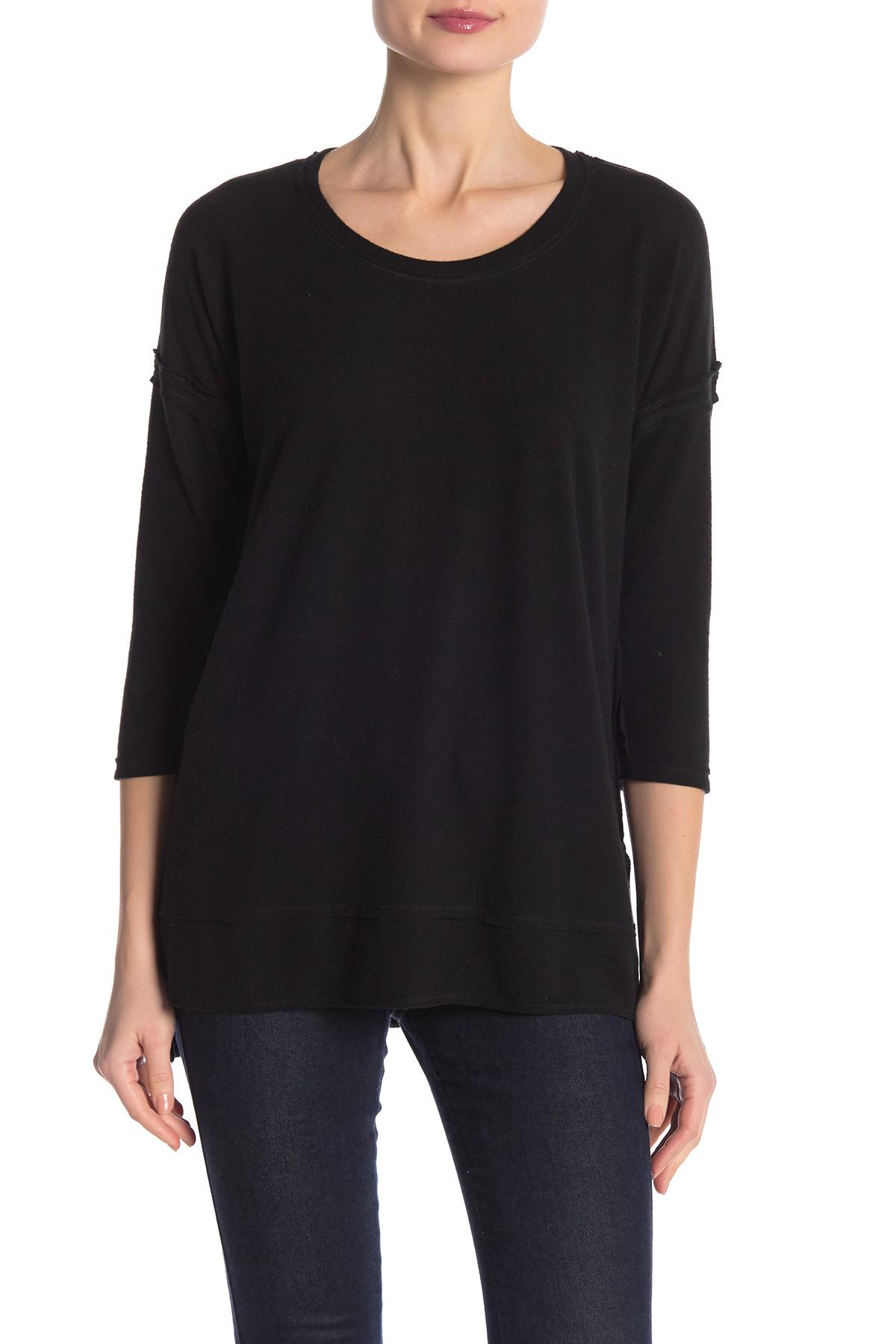 d6502d64e3d Lyst - Heather By Bordeaux Unbrushed Hacci 3/4 Sleeve Tee in Black
