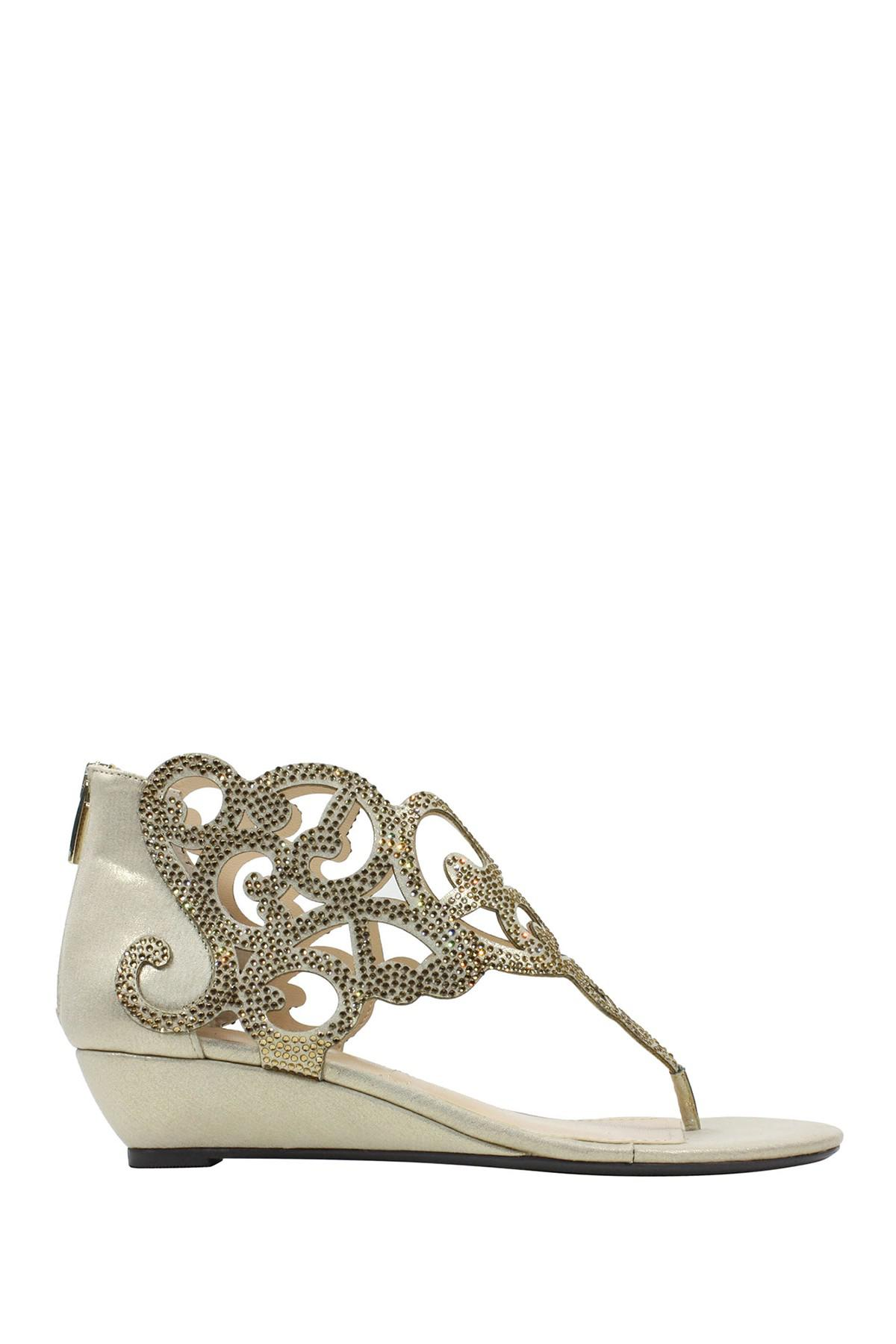 J. Renee Minka Satin and Rhinestone Wedge Sandals rNHsjk