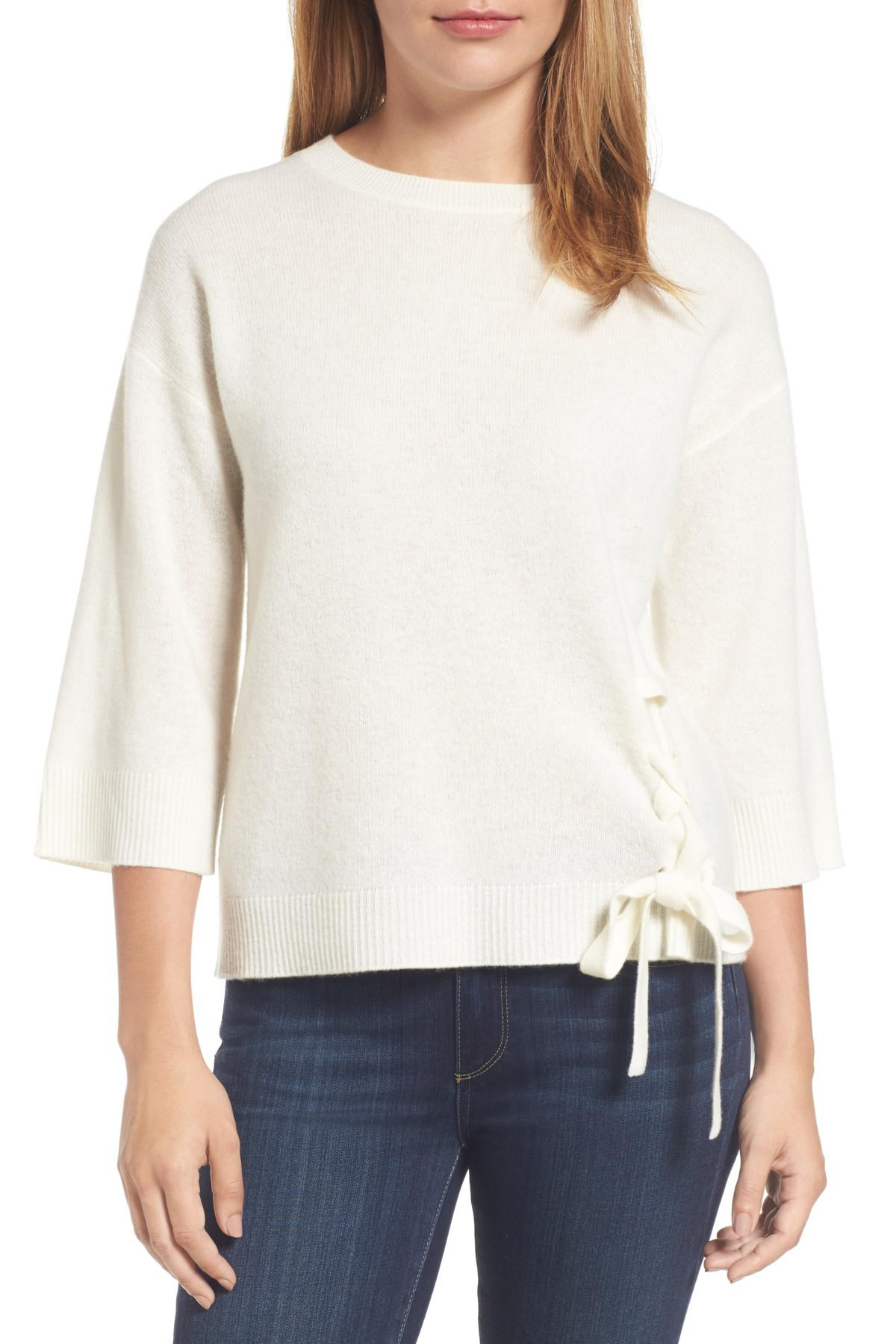 d24e02653e00b Lyst - Halogen Side Tie Wool And Cashmere Sweater in White