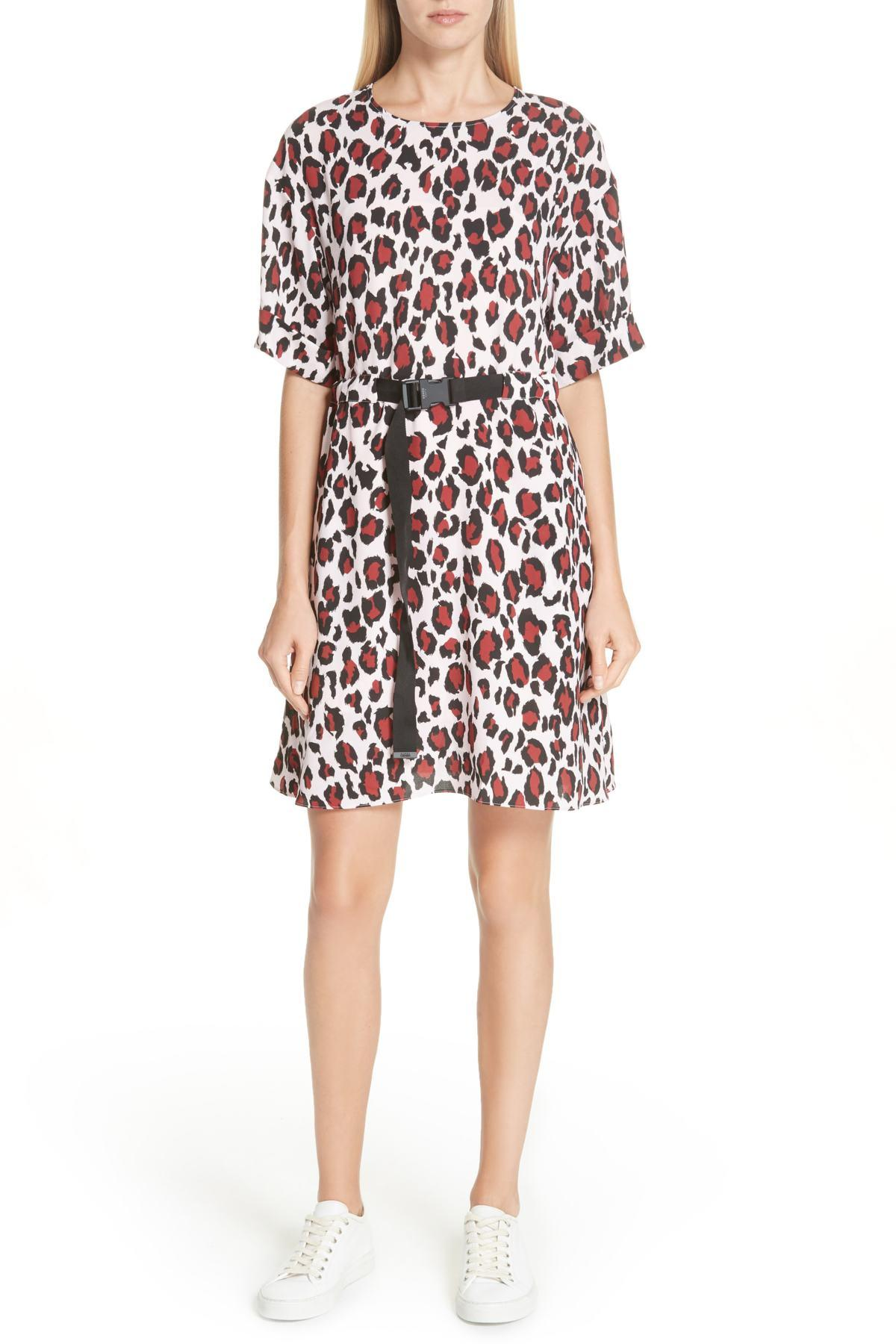40a47597e Lyst - KENZO Animal Print Belted Dress in Pink