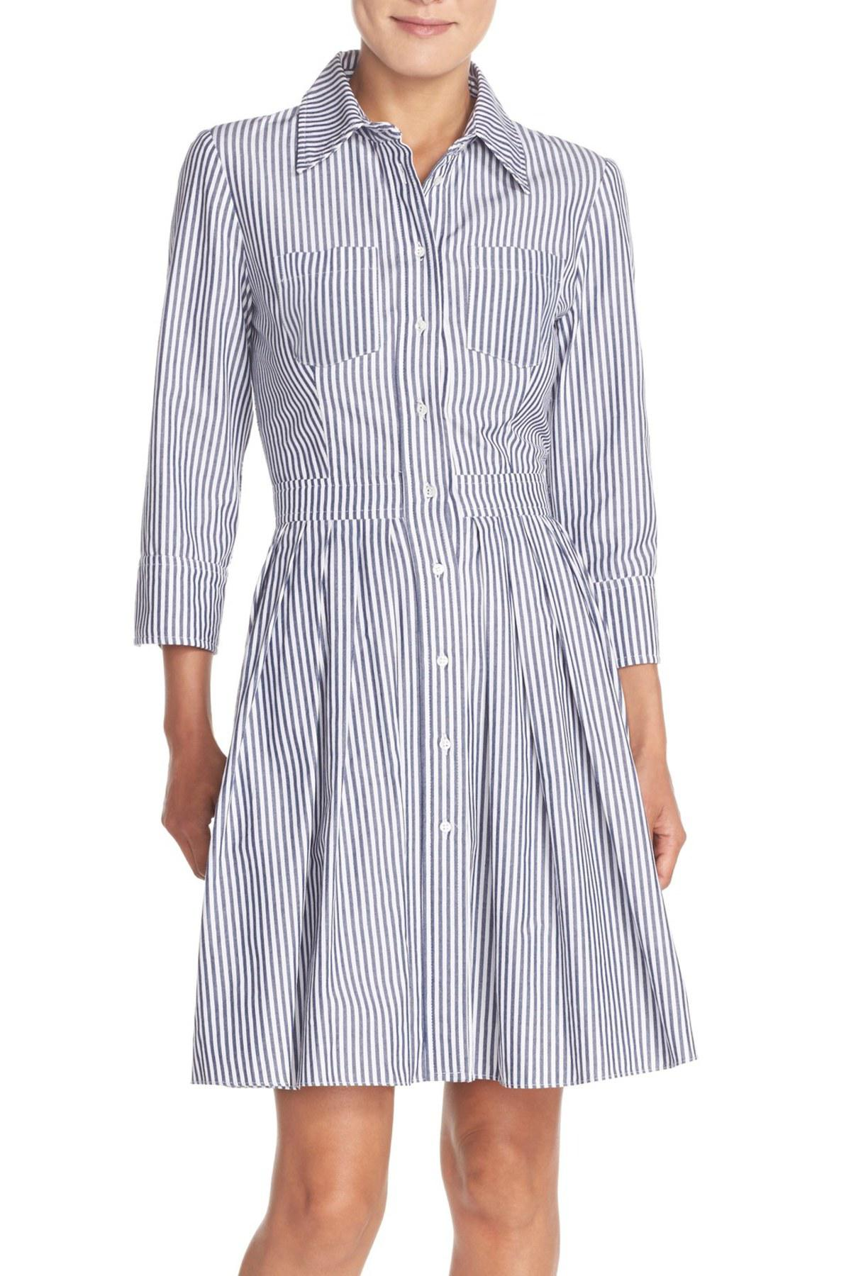 Lyst Eliza J Stripe Cotton Shirtdress In Blue