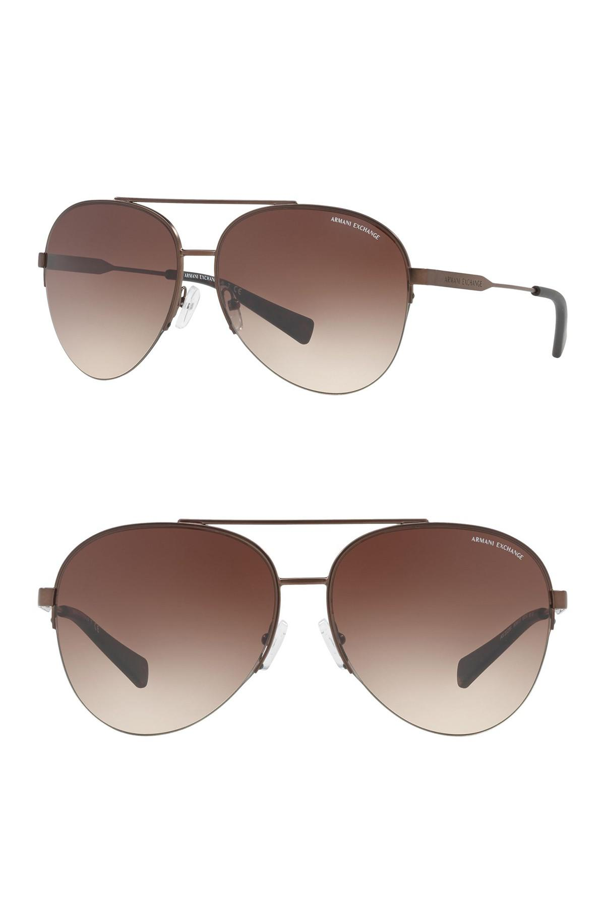 4fdc908cb3c Lyst - Armani Exchange Pilot 60mm Aviator Sunglasses in Brown for Men