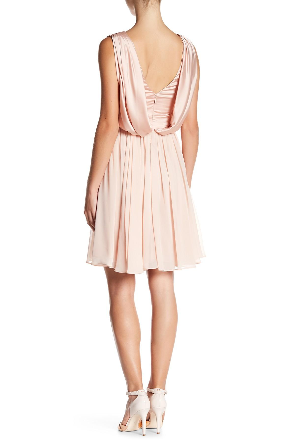 Lyst - Vera Wang Sleeveless Pleated Cocktail Dress in Pink