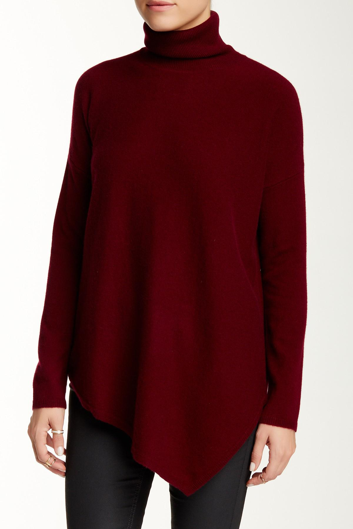 Sofia cashmere Asymmetrical Hem Cashmere Sweater in Red | Lyst